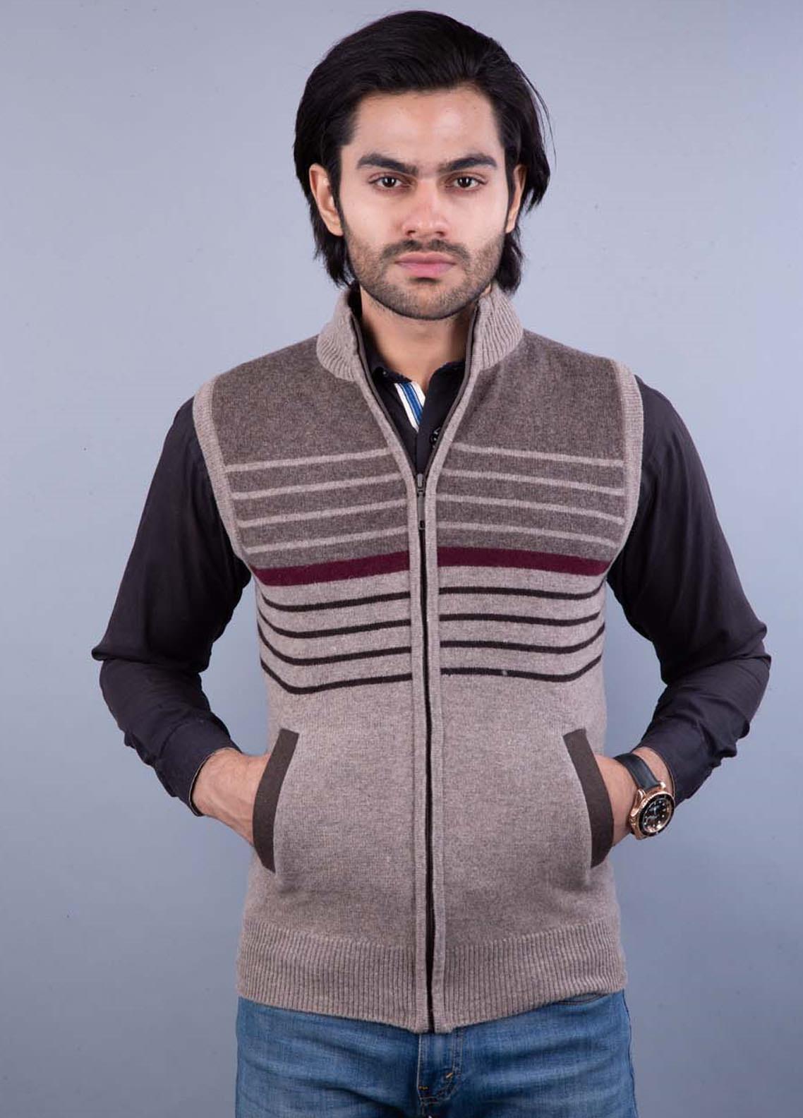 Oxford Lambswool Sleeveless Zipper Men Sweaters -  521 S-L ZIP L BROWN