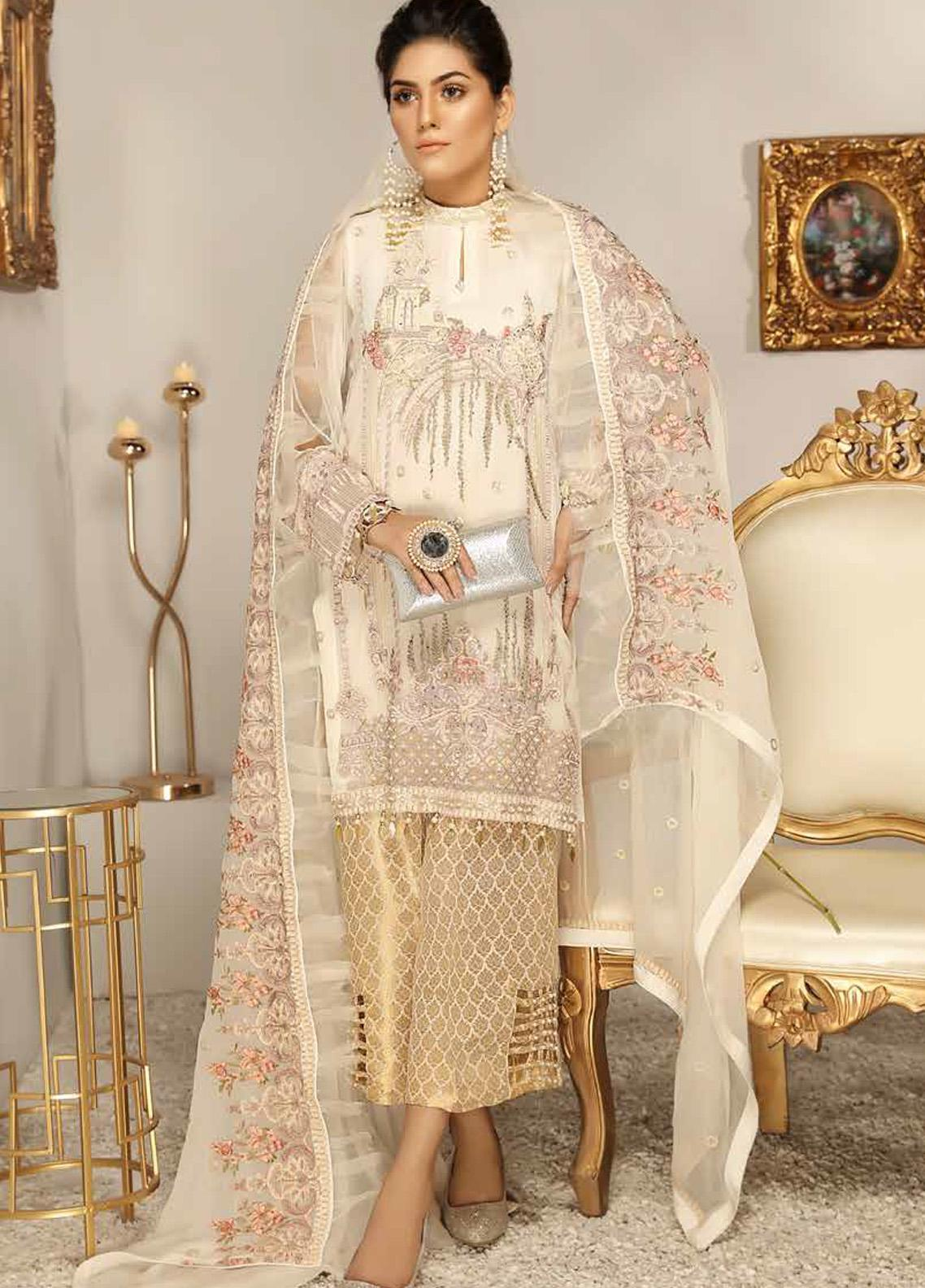 Panache by Puri Fabrics Embroidered Chiffon Unstitched 3 Piece Suit PCH20WF 01 ROYAL GOLD - Wedding Collection