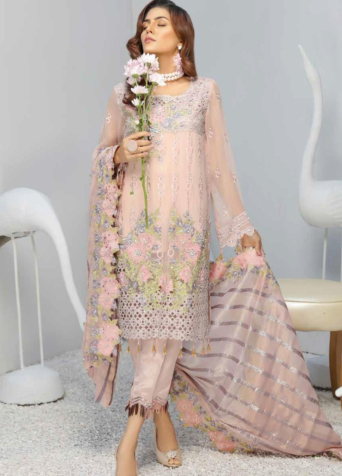 Panache by Puri Fabrics Embroidered Chiffon Unstitched 3 Piece Suit PCH20WF 02 CYRA - Wedding Collection