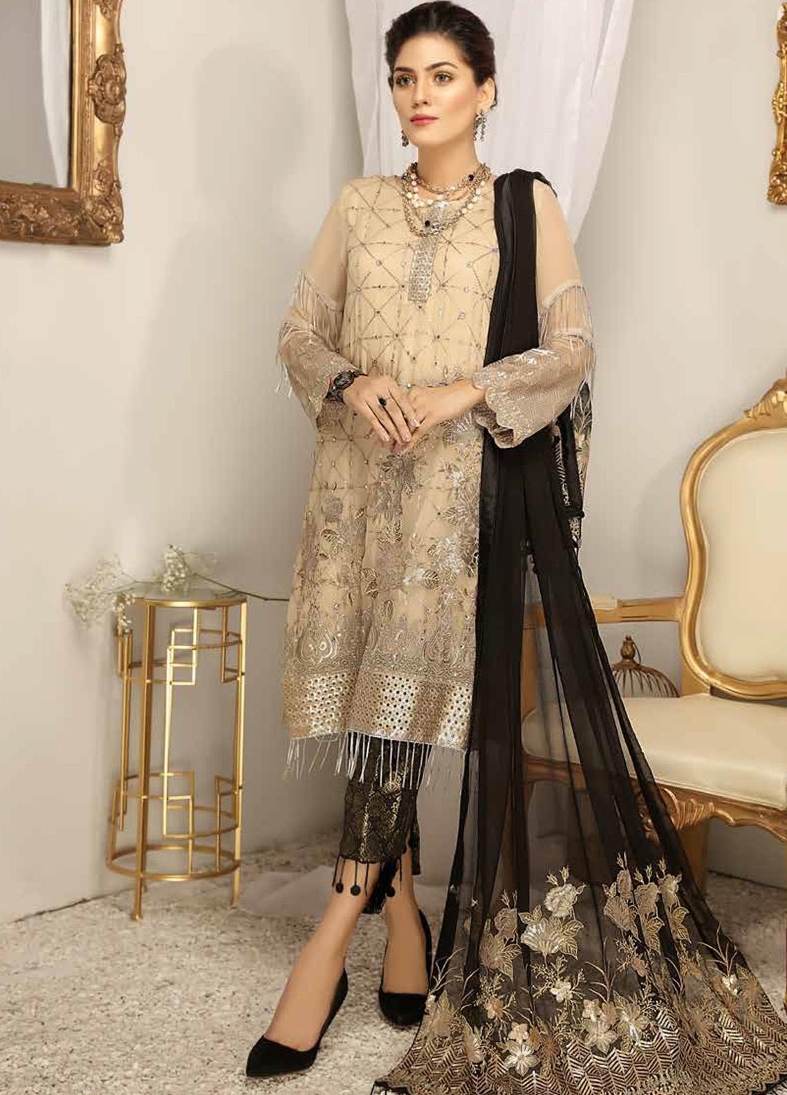 Panache by Puri Fabrics Embroidered Chiffon Unstitched 3 Piece Suit PCH20WF 09 AUBRON - Wedding Collection