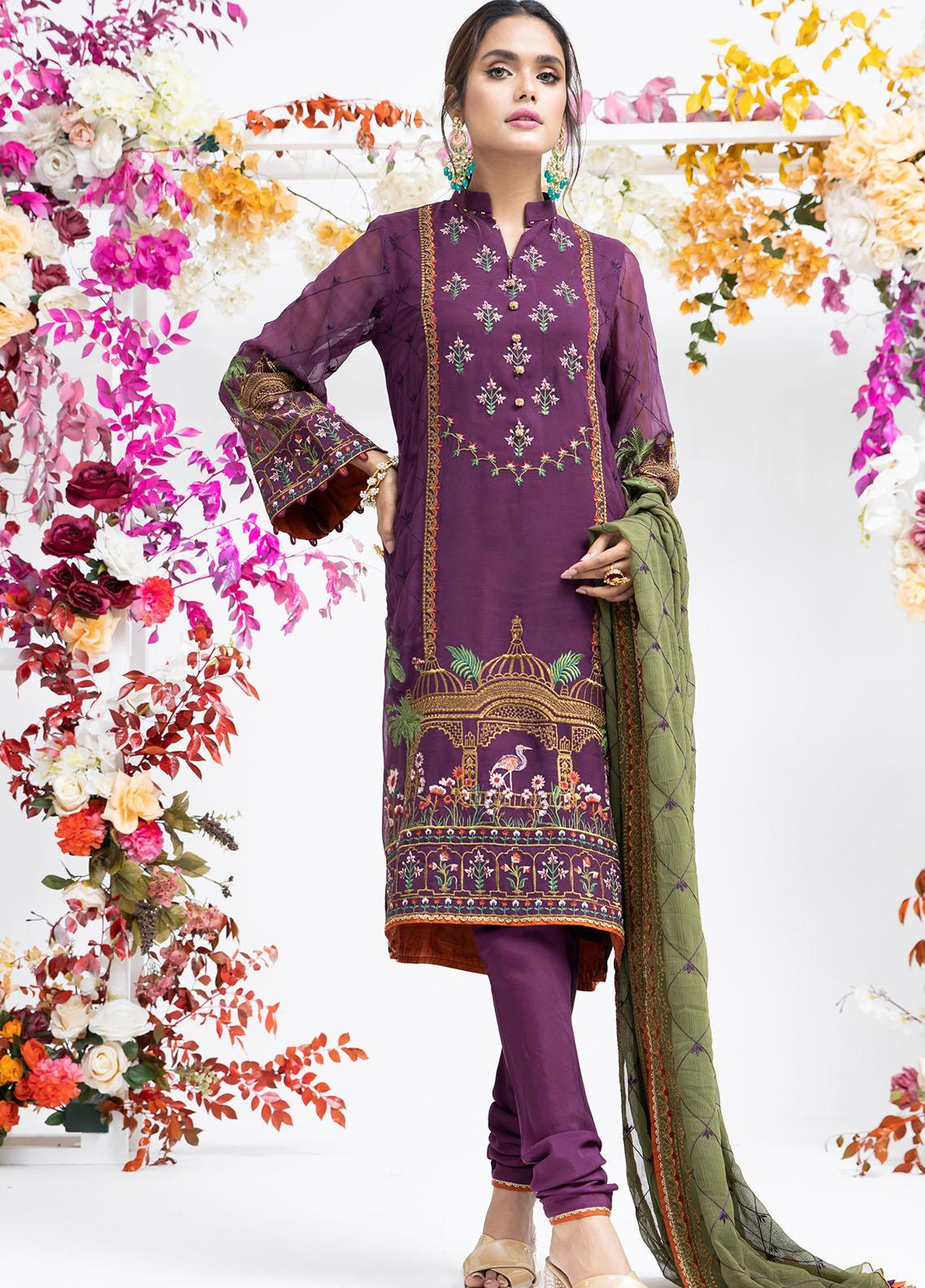 Parishey By Zaaviay Embroidered Chiffon Suits Unstitched 3 Piece KHUWAAB - Luxury Collection