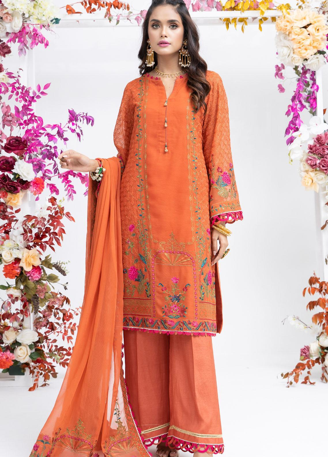 Parishey By Zaaviay Embroidered Chiffon Suits Unstitched 3 Piece KIRAN - Luxury Collection