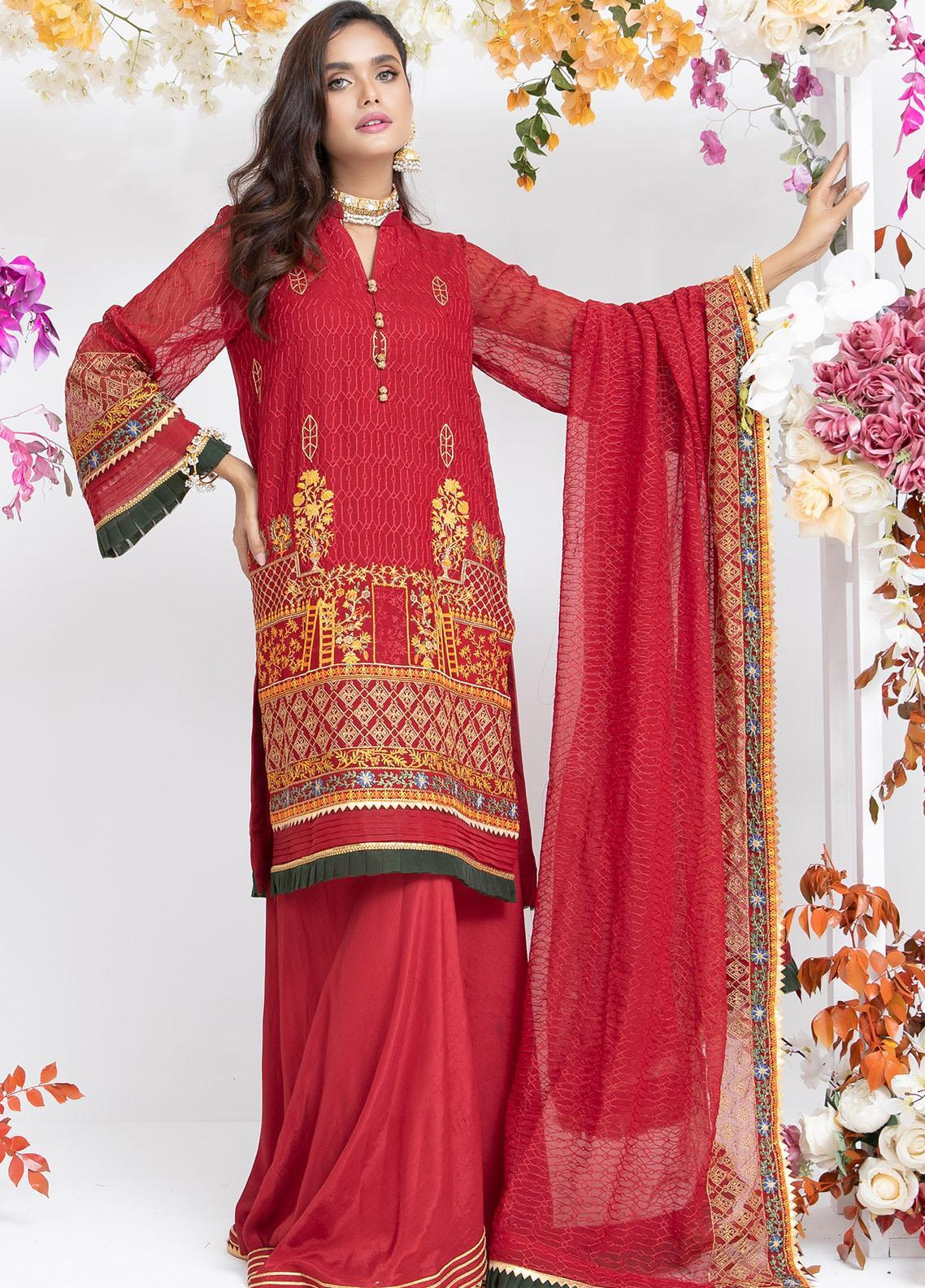 Parishey By Zaaviay Embroidered Chiffon Suits Unstitched 3 Piece RUMAAN - Luxury Collection