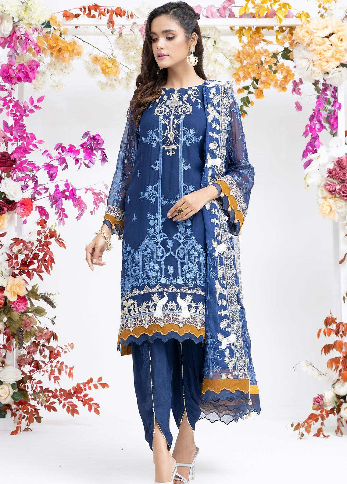 Parishey By Zaaviay Embroidered Chiffon Suits Unstitched 3 Piece SAHIL - Luxury Collection