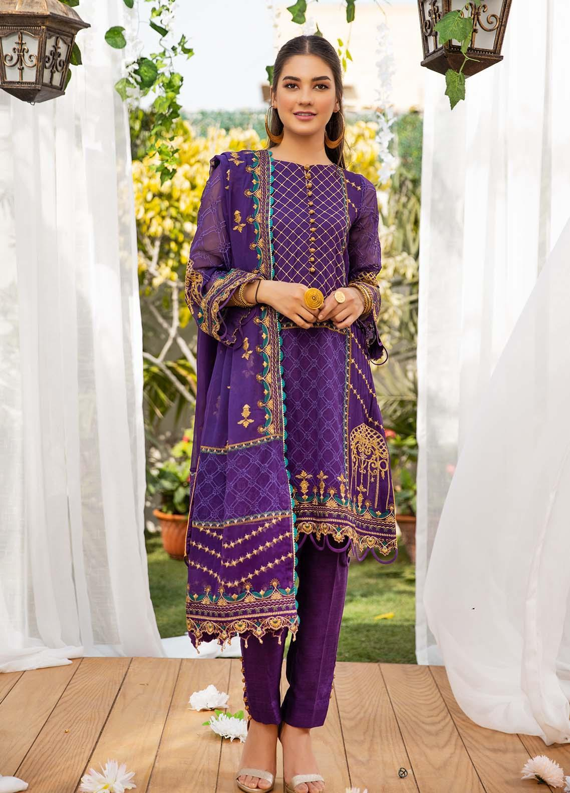 Parishey By Zaaviay Embroidered Chiffon Suits Unstitched 3 Piece ZV21P TAREEF - Luxury Collection