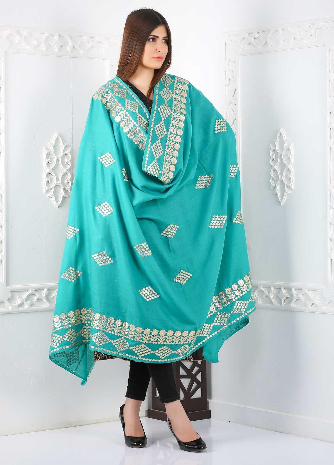 Sanaulla Exclusive Range Embroidered Pashmina  Shawl Gota Work Shawl 323497 - Pashmina Shawls