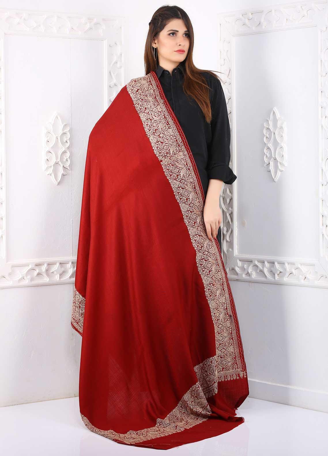 Sanaulla Exclusive Range Embroidered Pashmina  Shawl PMSH 323271 - Pashmina Shawls