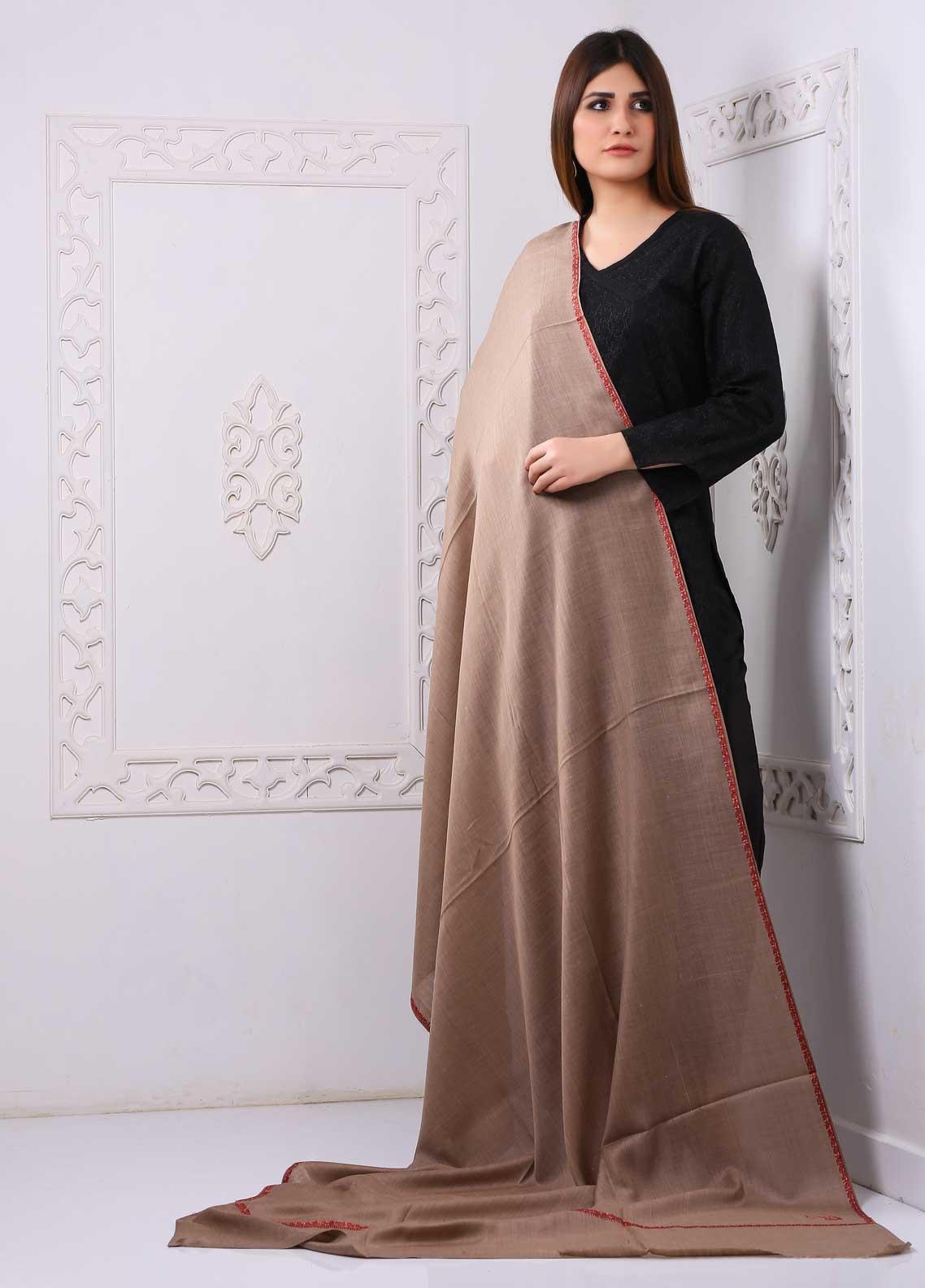 Sanaulla Exclusive Range Embroidered Pashmina  Shawl PMSH 323440 - Pashmina Shawls