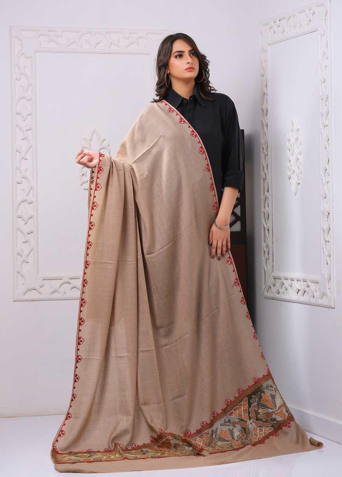 Sanaulla Exclusive Range Embroidered Pashmina  Shawl PMSH 323814 Cut Work  - Pashmina Cut Work Shawls