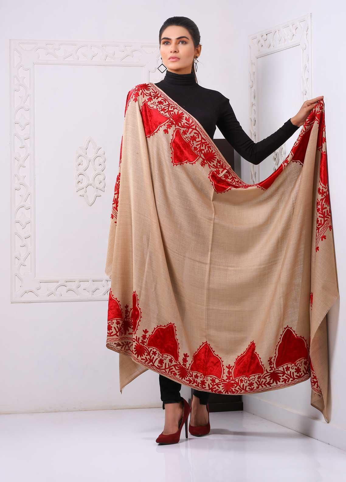 Sanaulla Exclusive Range Embroidered Pashmina  Shawl PMSH 323913 - Pashmina Shawls