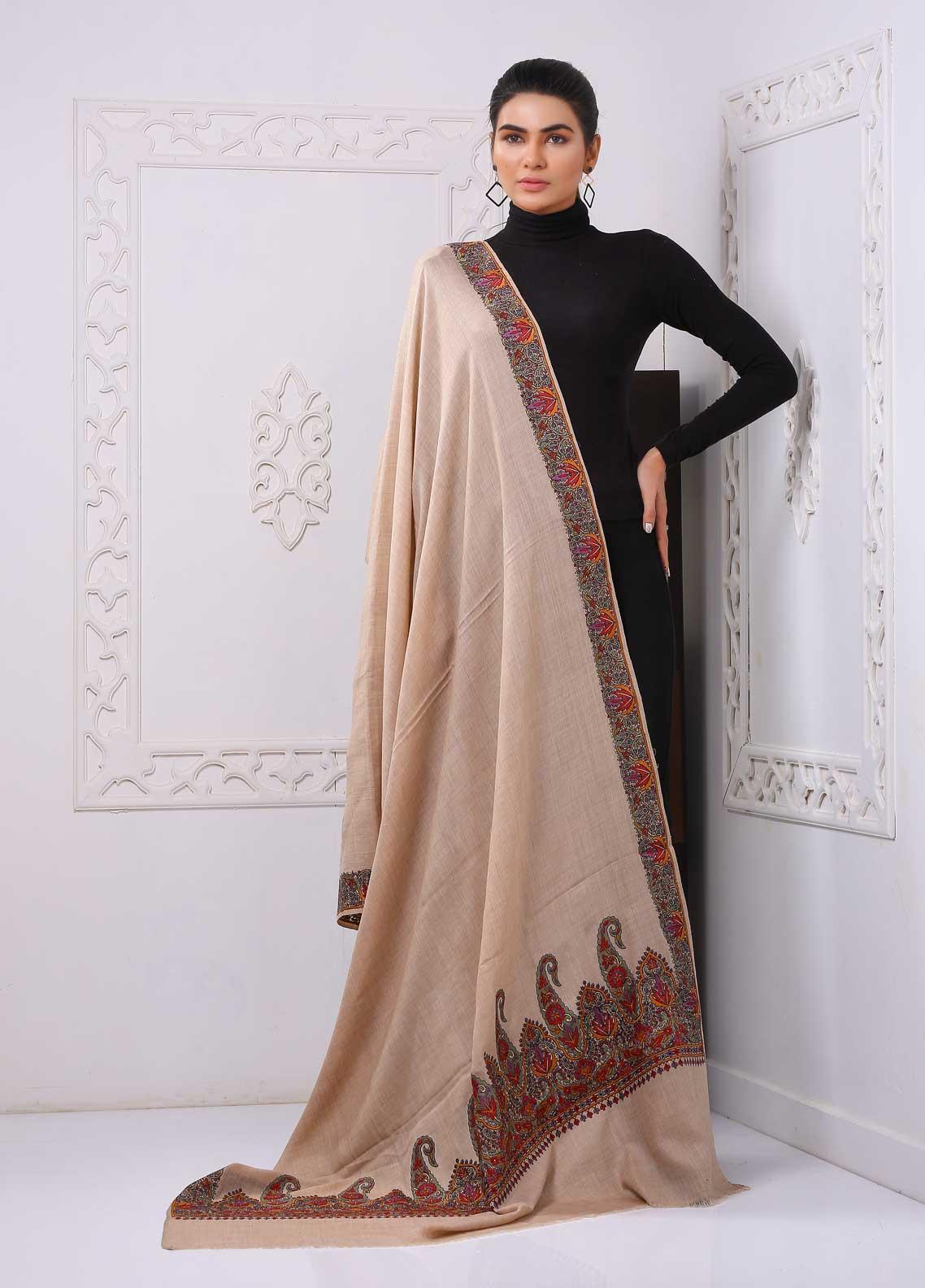 Sanaulla Exclusive Range Embroidered Pashmina  Shawl PMSH 323921 - Pashmina Shawls