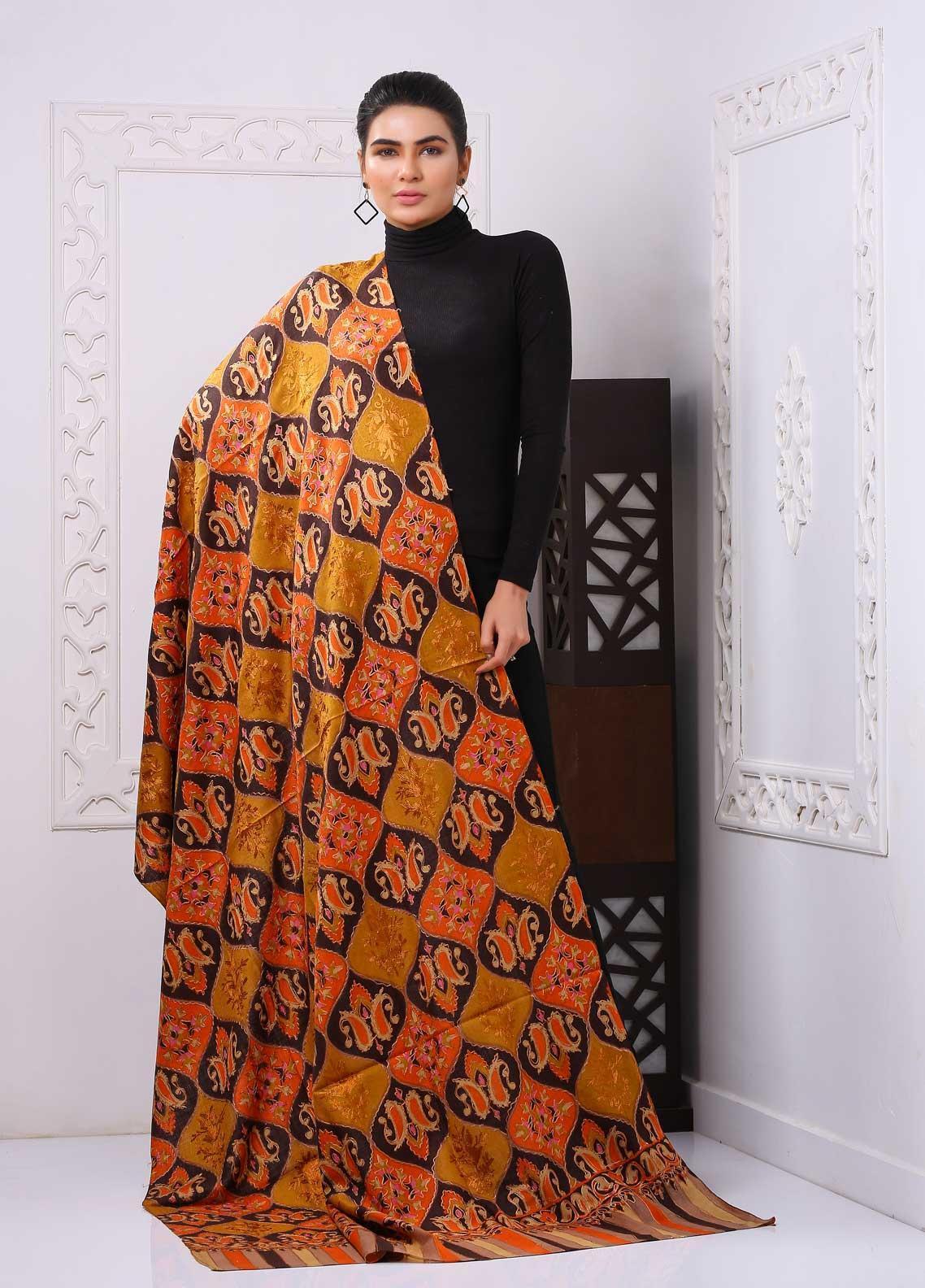 Sanaulla Exclusive Range Embroidered Pashmina  Shawl PMSH 323961 - Pashmina Shawls