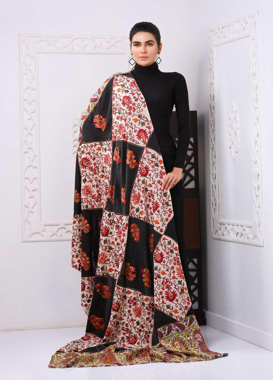 Sanaulla Exclusive Range Embroidered Pashmina  Shawl PMSH 323965 - Pashmina Shawls