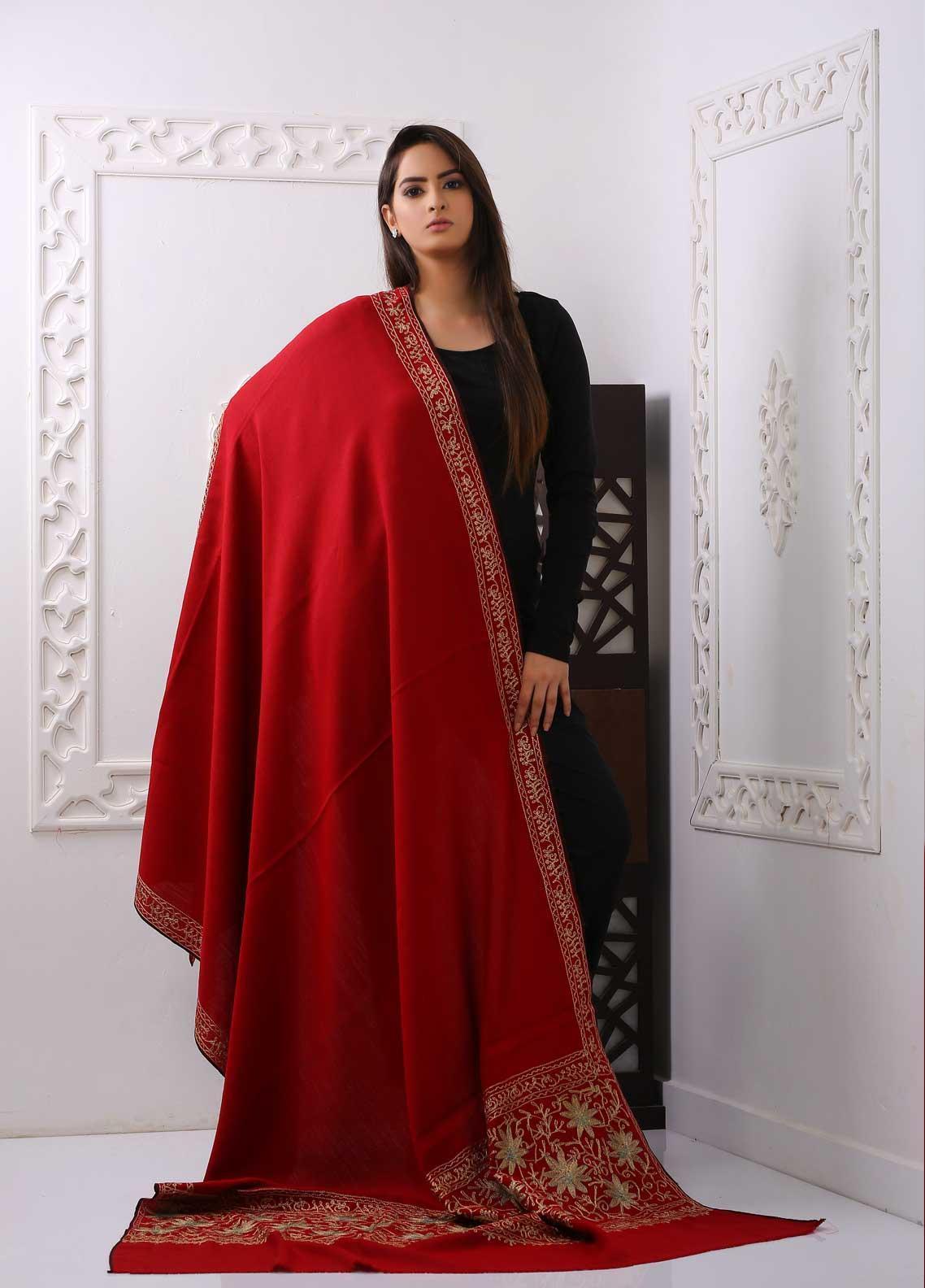 Sanaulla Exclusive Range Embroidered Pashmina  Shawl PMSH 324081 - Pashmina Shawls