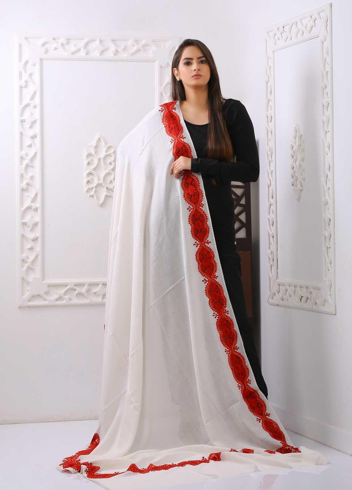 Sanaulla Exclusive Range Embroidered Pashmina  Shawl PMSHC Cutwork 323508 - Pashmina Cut Work Shawls