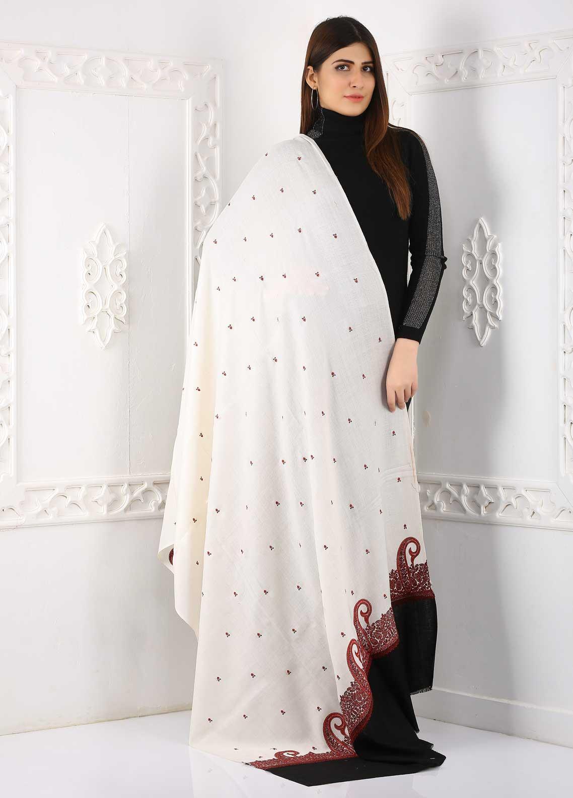Sanaulla Exclusive Range Embroidered Pashmina  Shawl Shawl 323471 - Pashmina Shawls