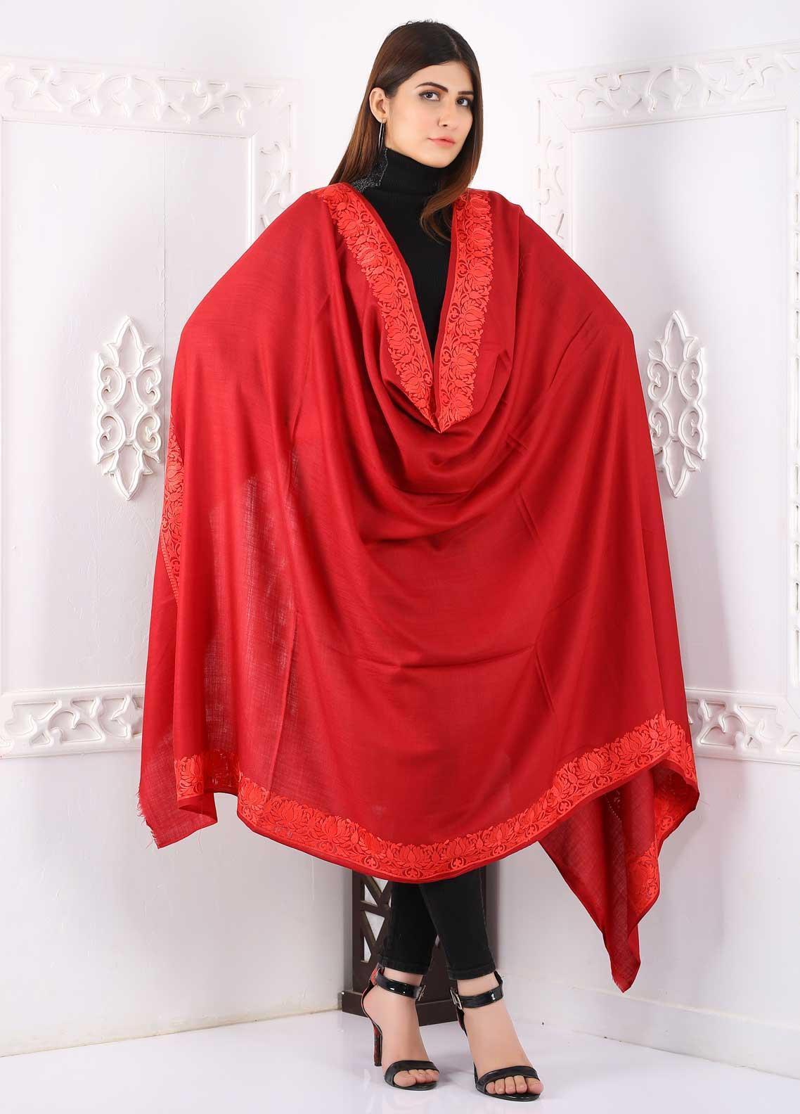 Sanaulla Exclusive Range Embroidered Pashmina  Shawl Shawl 323485 - Pashmina Shawls