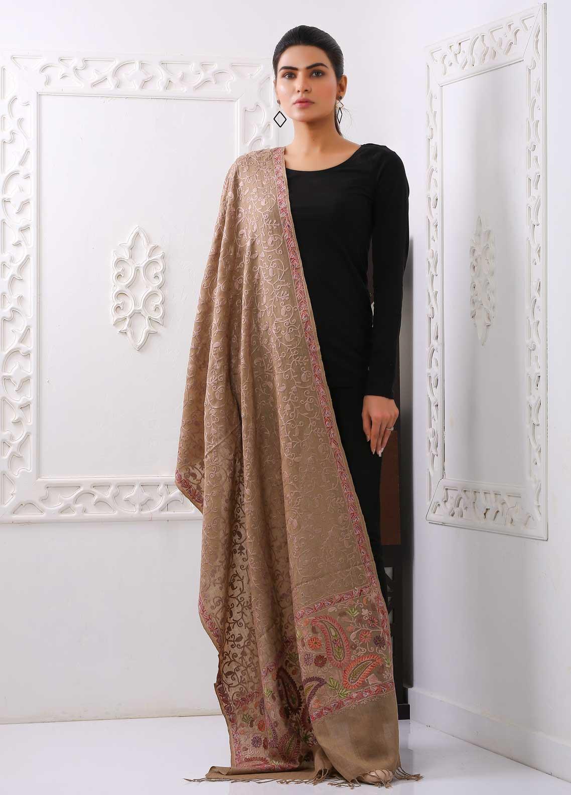 Sanaulla Exclusive Range Embroidered Pashmina  Stole PSTL 323535  Pashmina Stoles