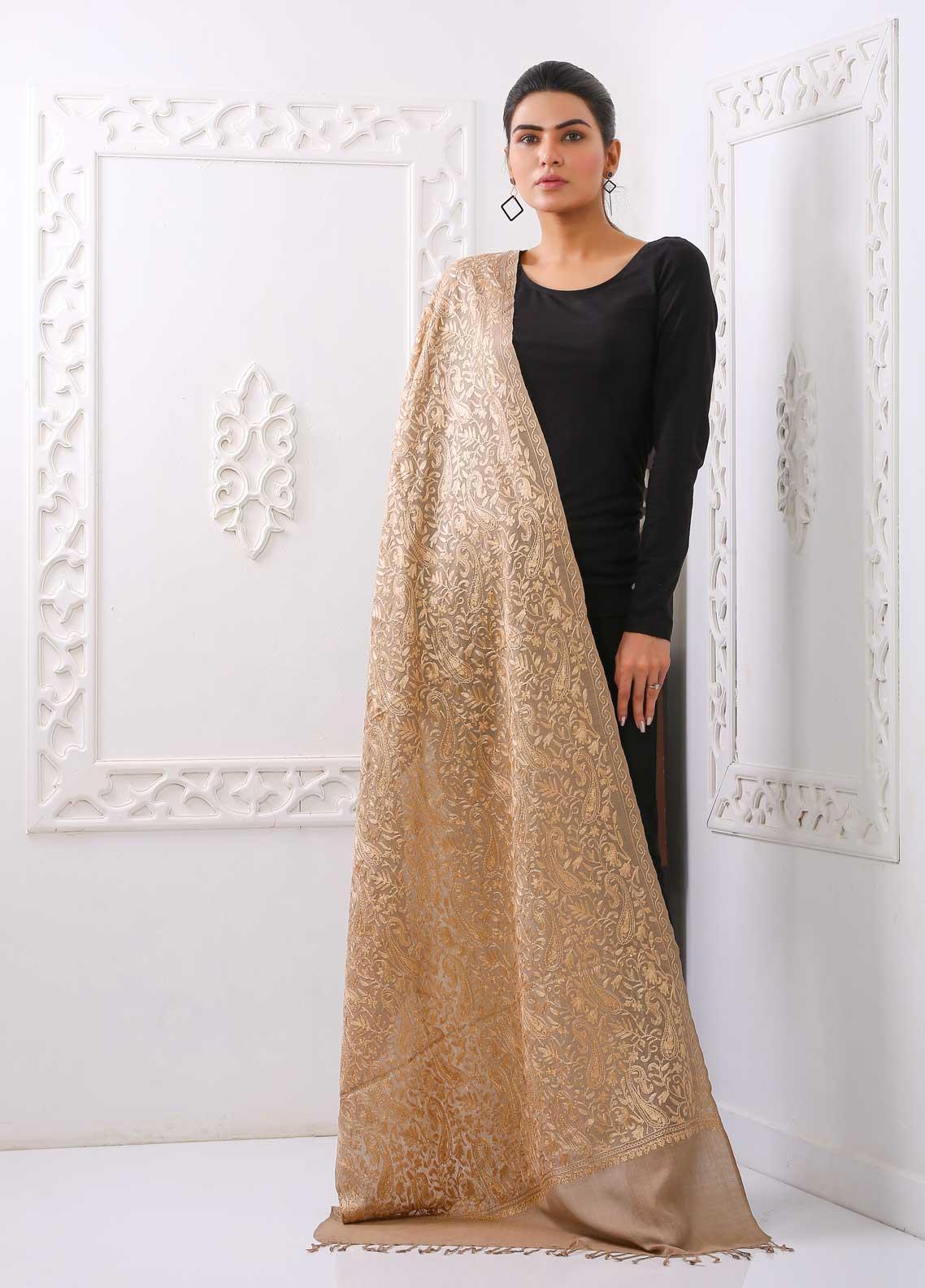 Sanaulla Exclusive Range Embroidered Pashmina Stole PSTL 323540 Pashmina Stoles