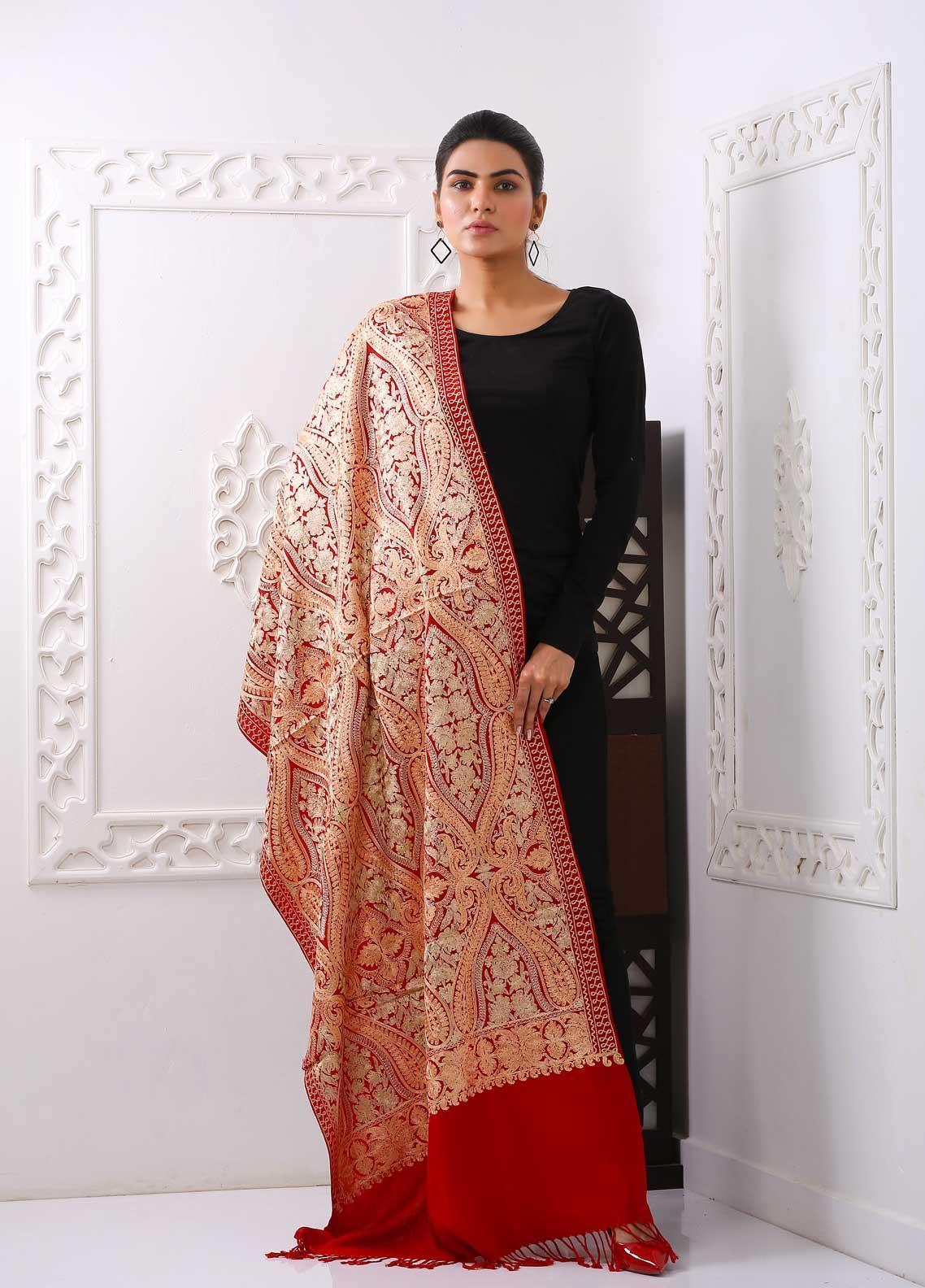 Sanaulla Exclusive Range Embroidered Pashmina  Stole PSTL 323855  Pashmina Stoles