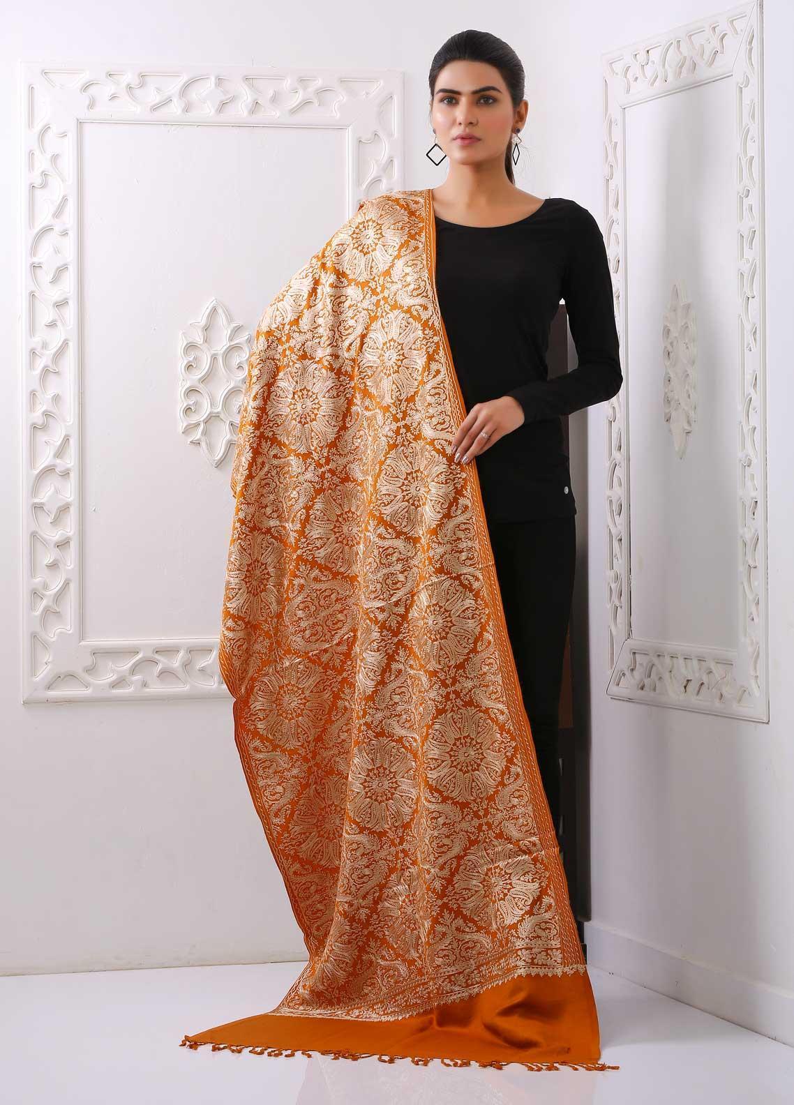 Sanaulla Exclusive Range Embroidered Pashmina  Stole PSTL 323857  Pashmina Stoles