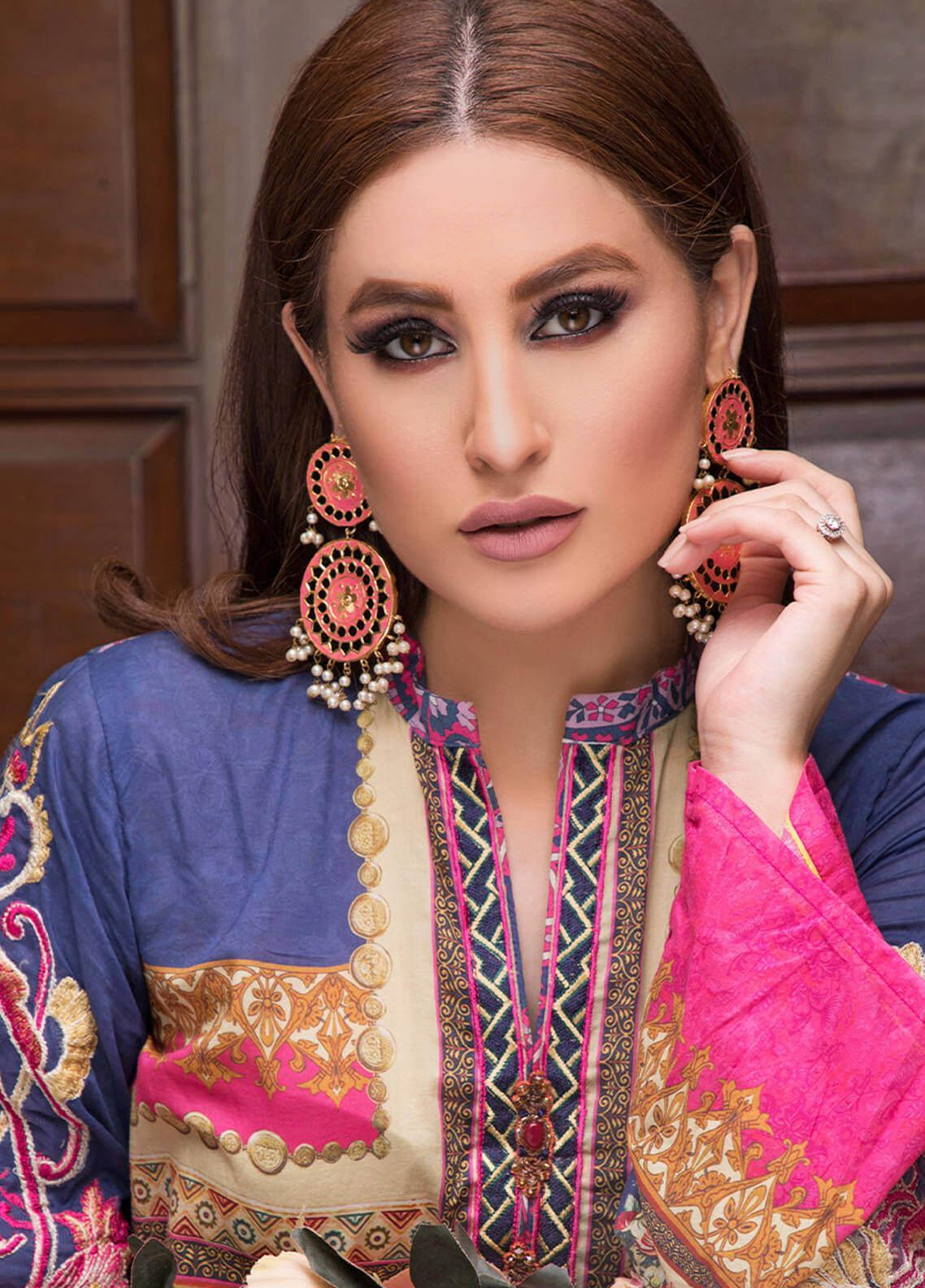 Pechan-e-Zan by Iqra Reza Embroidered Lawn Unstitched 3 Piece Suit PZ20IR 002 - Luxury Collection