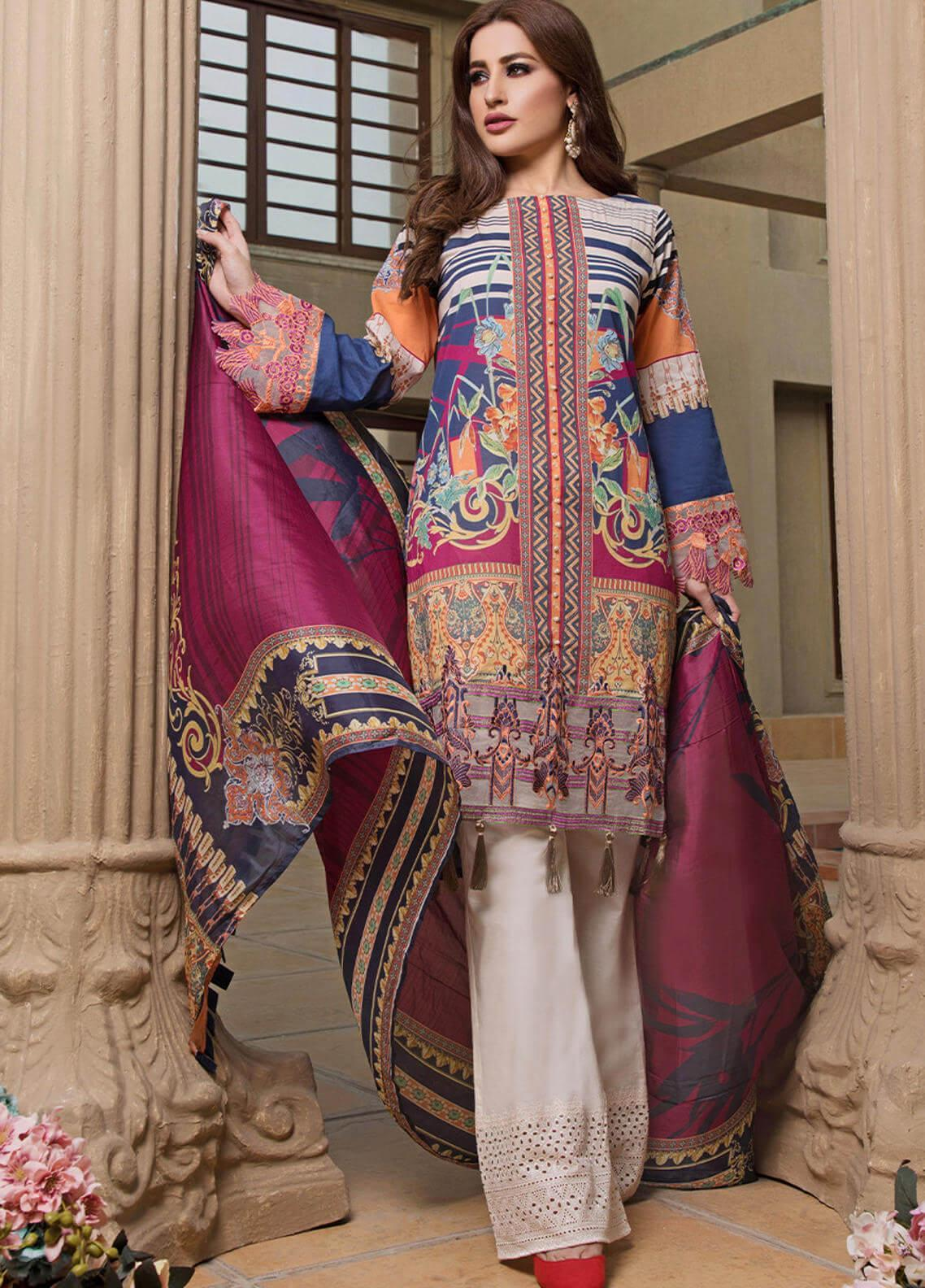 Pechan-e-Zan by Iqra Reza Embroidered Lawn Unstitched 3 Piece Suit PZ20IR 005 - Luxury Collection