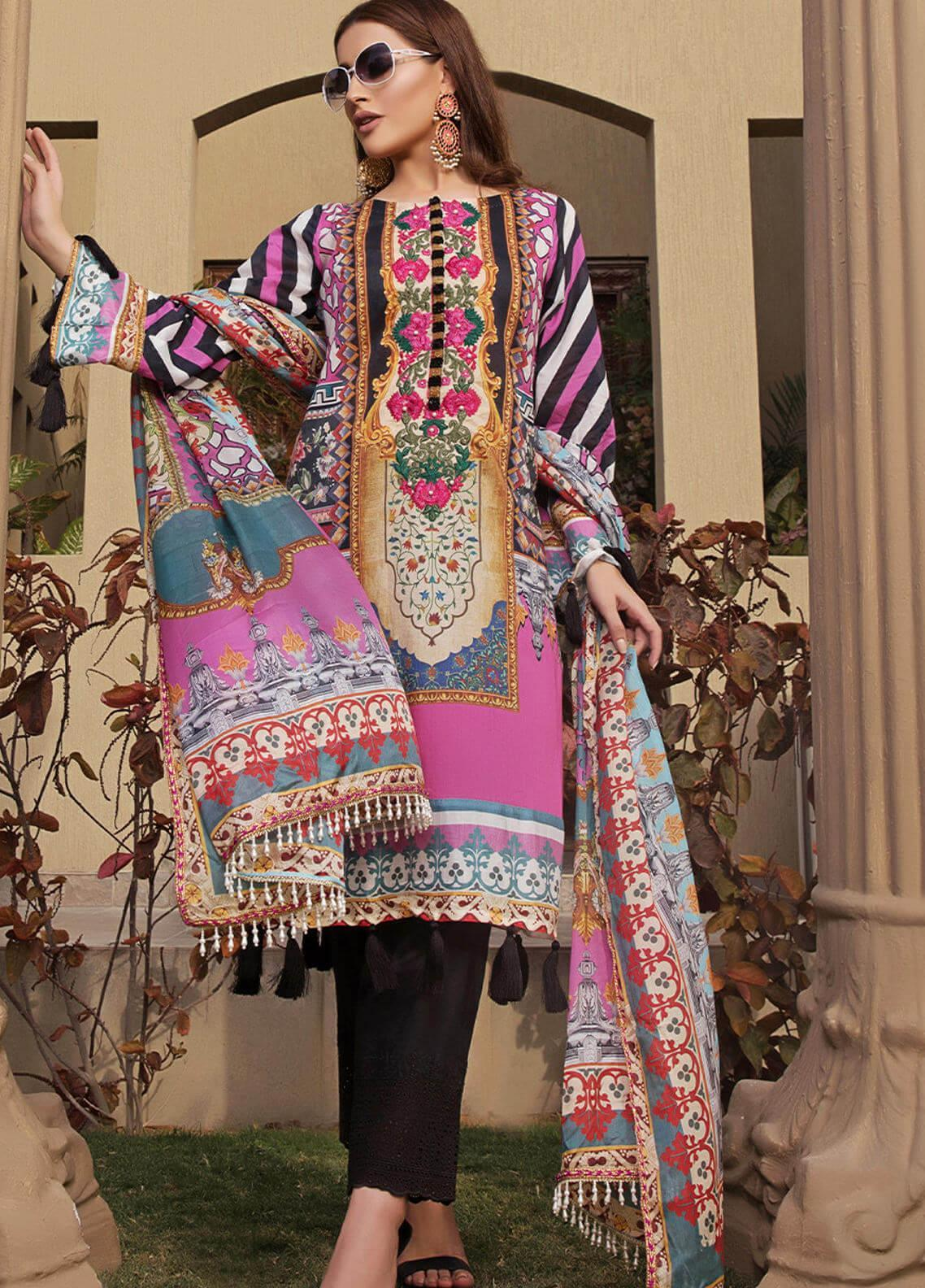 Pechan-e-Zan by Iqra Reza Embroidered Lawn Unstitched 3 Piece Suit PZ20IR 007 - Luxury Collection