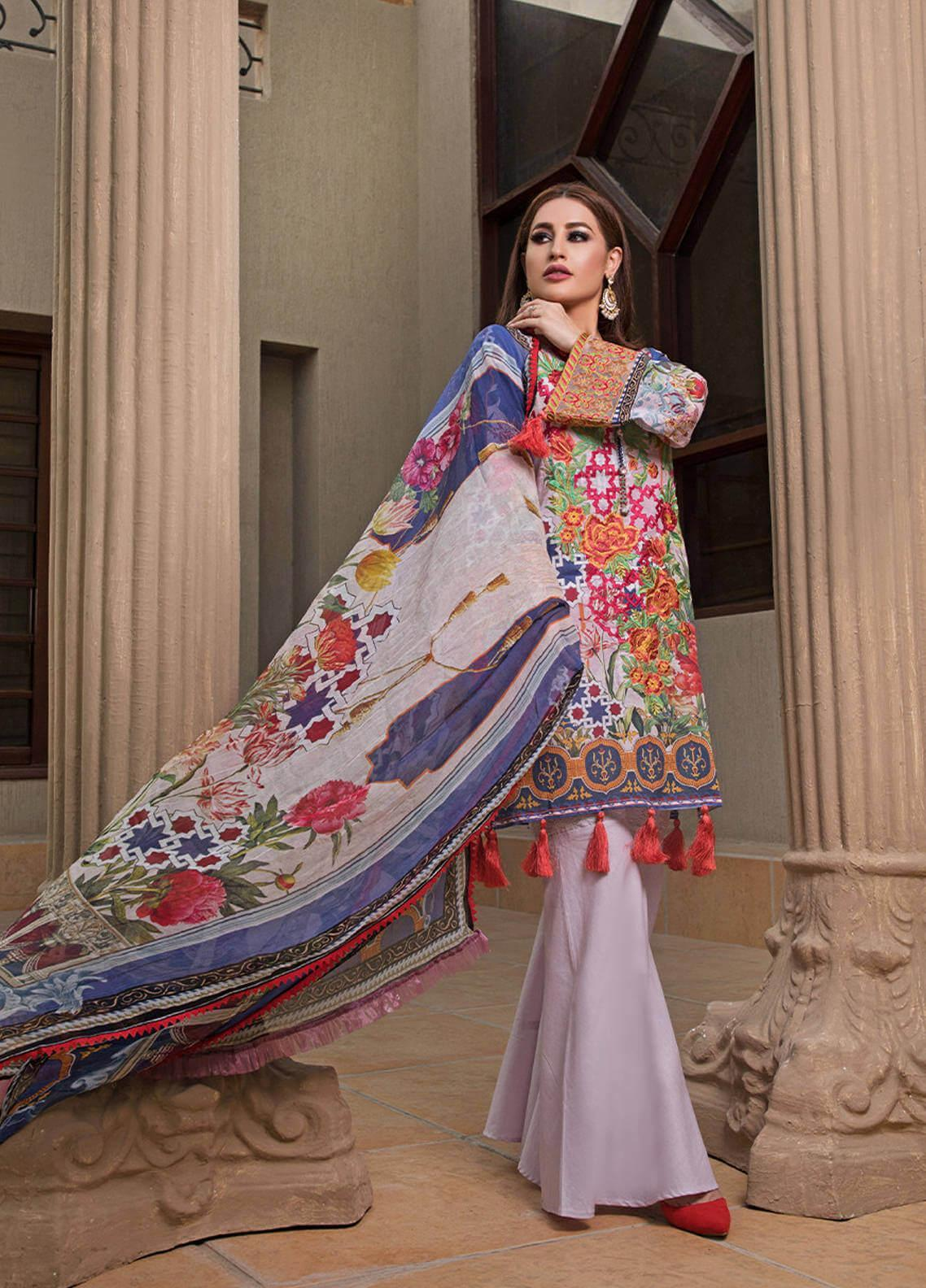 Pechan-e-Zan by Iqra Reza Embroidered Lawn Unstitched 3 Piece Suit PZ20IR 009 - Luxury Collection