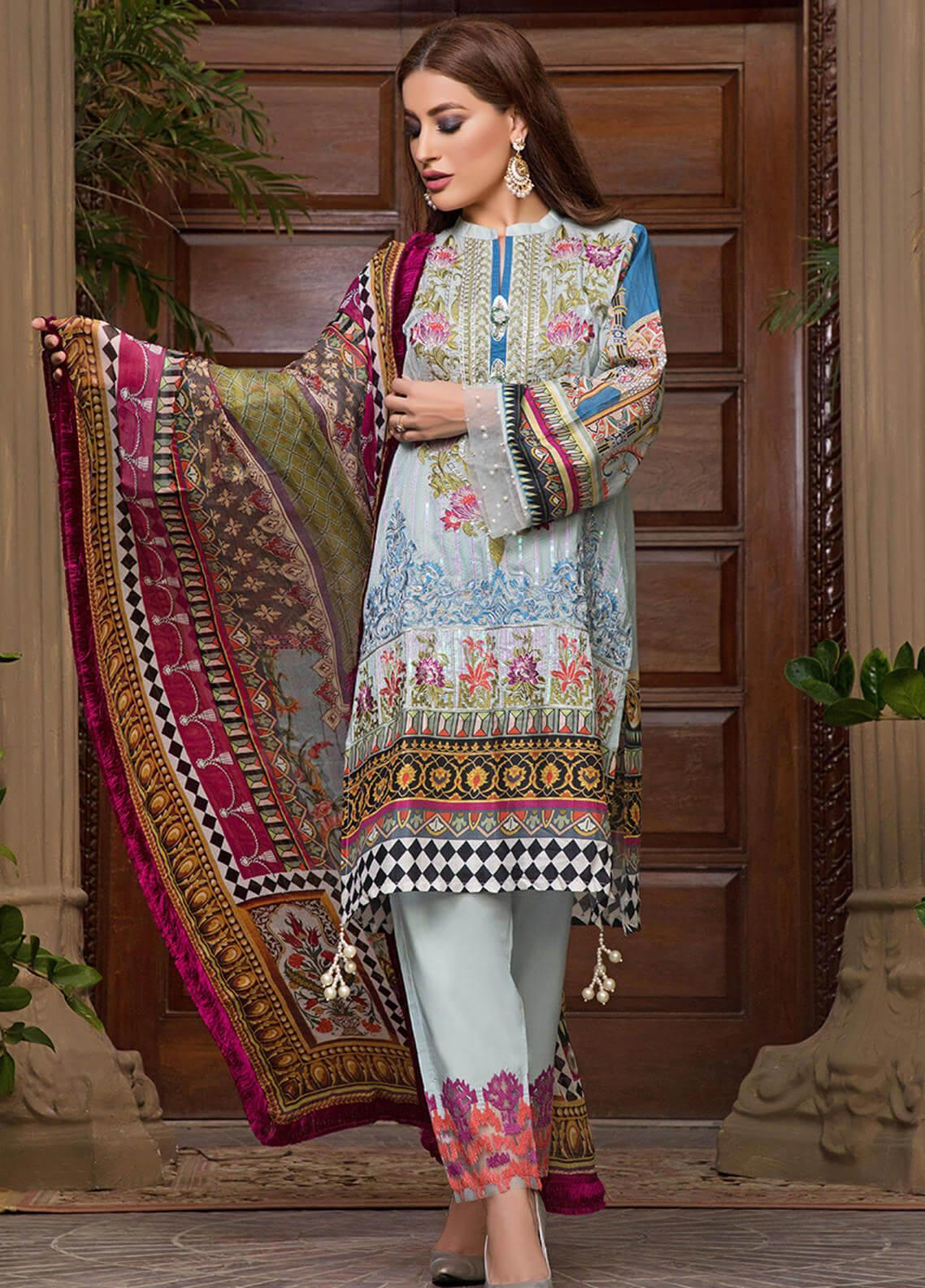 Pechan-e-Zan by Iqra Reza Embroidered Lawn Unstitched 3 Piece Suit PZ20IR 010 - Luxury Collection