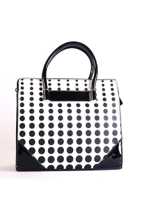 PU Leather Satchels Handbags for Women - Black with Polka Dot , Zip closure