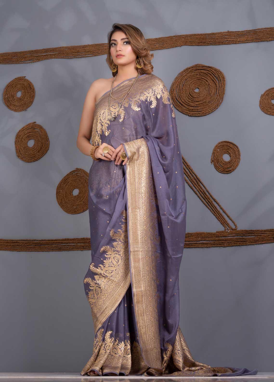 Al Rahim Banarsi Embroidered Chiffon Unstitched Saree AR21BP RC 1313 - Festive Collection