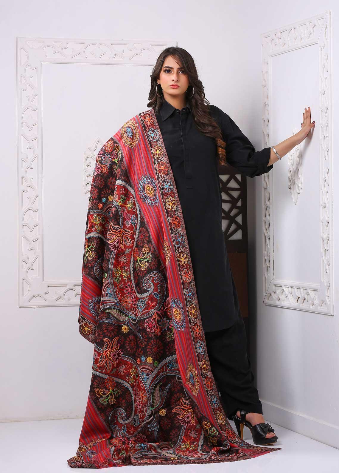 Sanaulla Exclusive Range Embroidered Premium Pashmina  Shawl PRMSH 323804 - Premium Pashmina Shawls