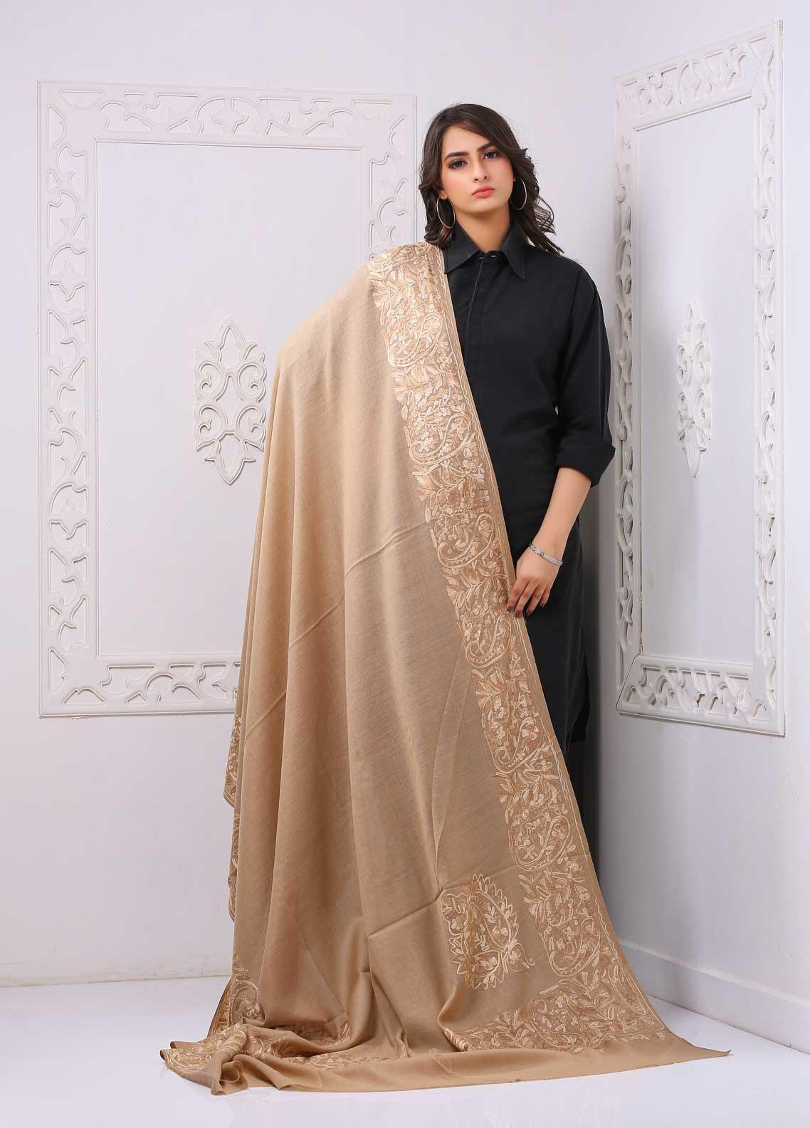 Sanaulla Exclusive Range Embroidered Premium Pashmina  Shawl PRMSH 323825 - Premium Pashmina Shawls