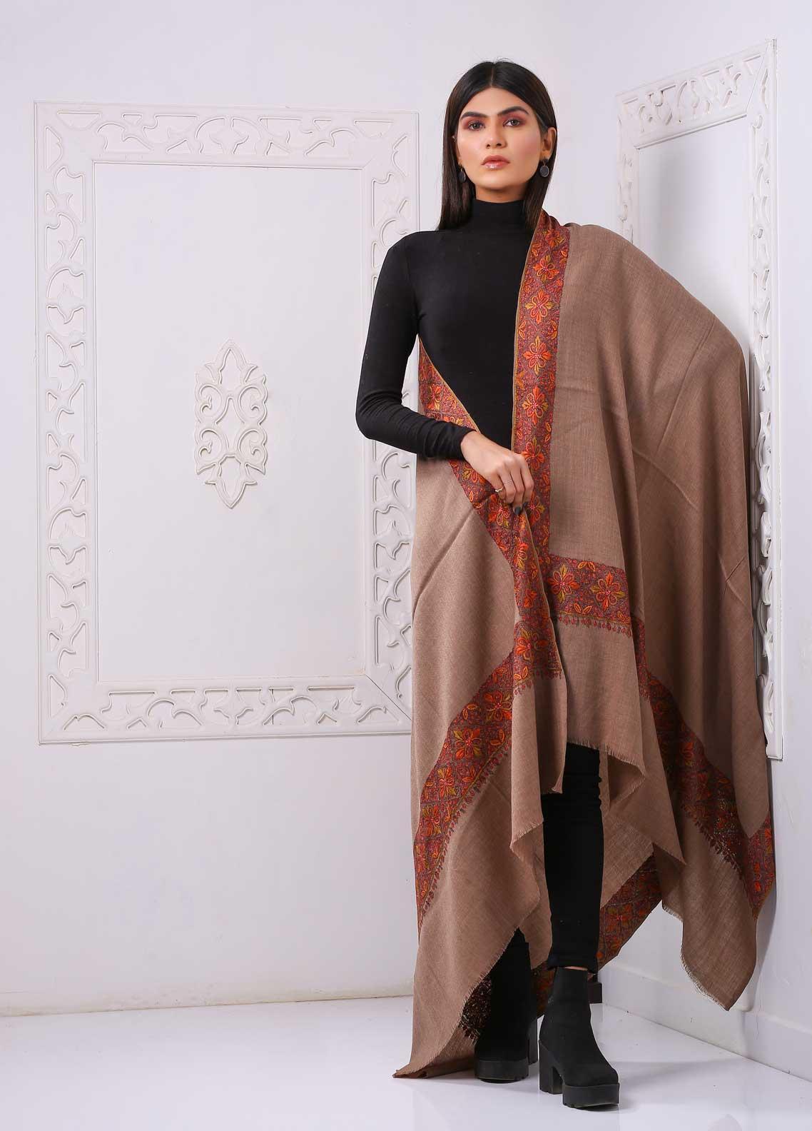 Sanaulla Exclusive Range Embroidered Premium Pashmina  Shawl PRMSH 323844 - Premium Pashmina Shawls