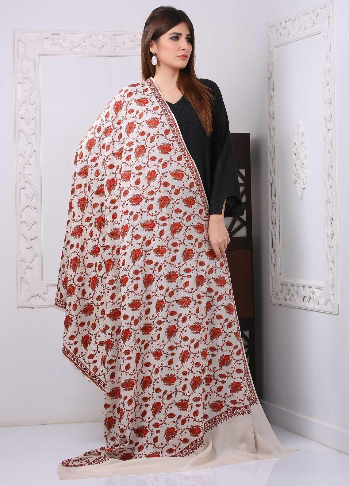 Sanaulla Exclusive Range Embroidered Premium Pashmina  Shawl PRMSH 323879 - Premium Pashmina Shawls