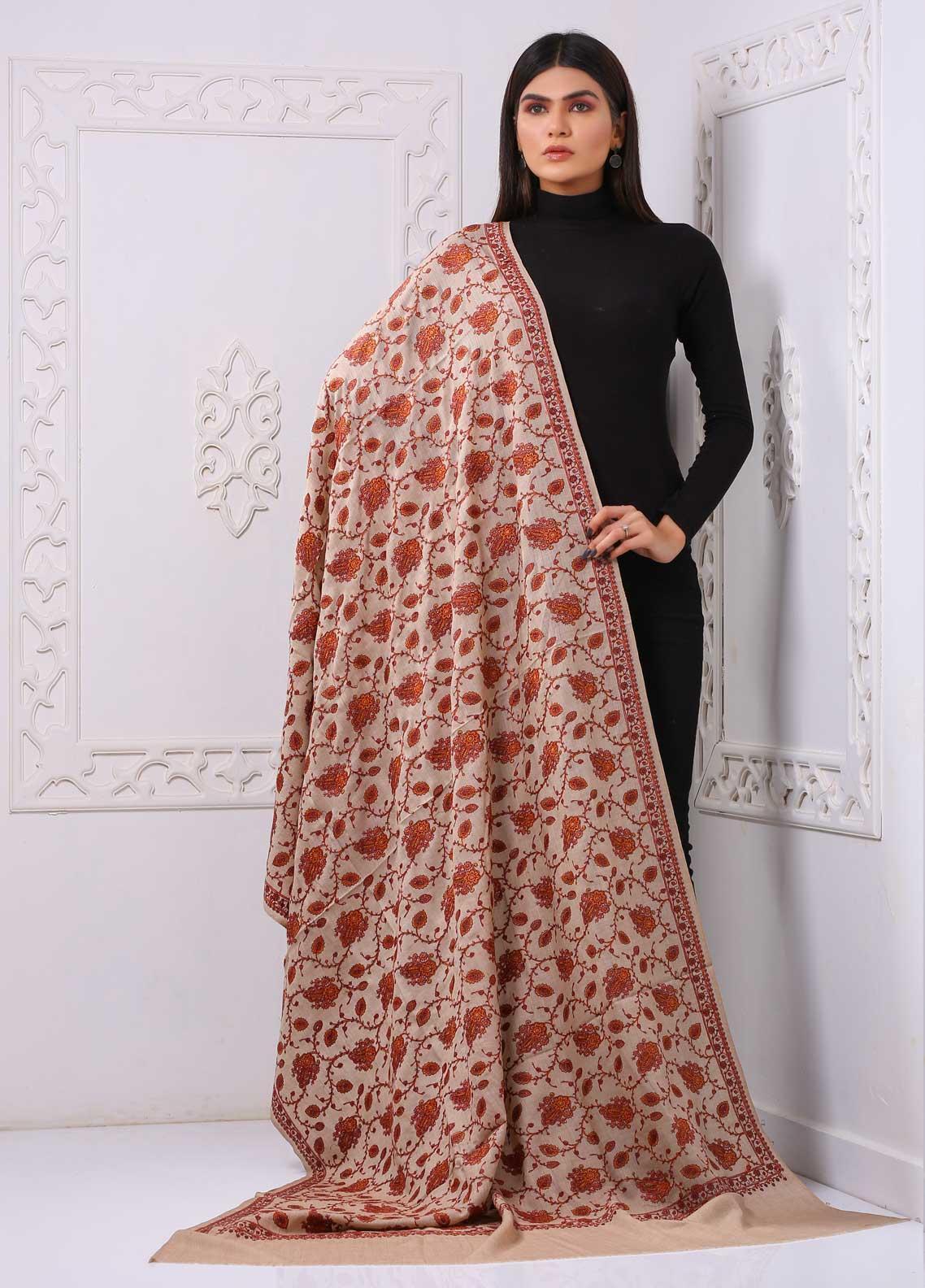 Sanaulla Exclusive Range Embroidered Premium Pashmina  Shawl PRMSH 323881 - Premium Pashmina Shawls