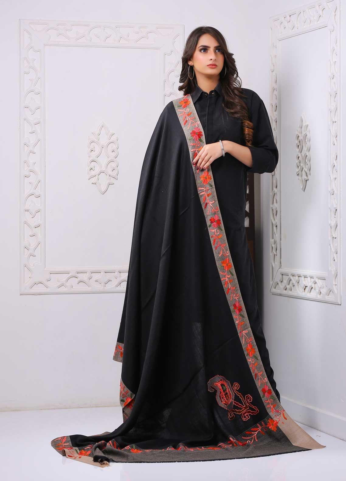 Sanaulla Exclusive Range Embroidered Premium Pashmina  Shawl PRMSH 323937 - Premium Pashmina Shawls