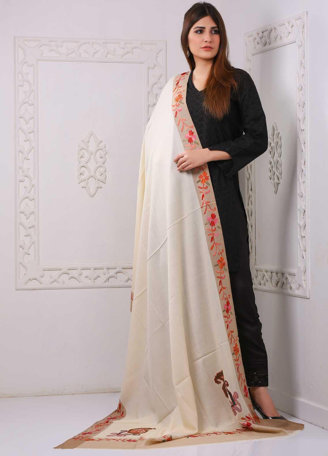 Sanaulla Exclusive Range Embroidered Premium Pashmina  Shawl PRMSH 323938 - Premium Pashmina Shawls