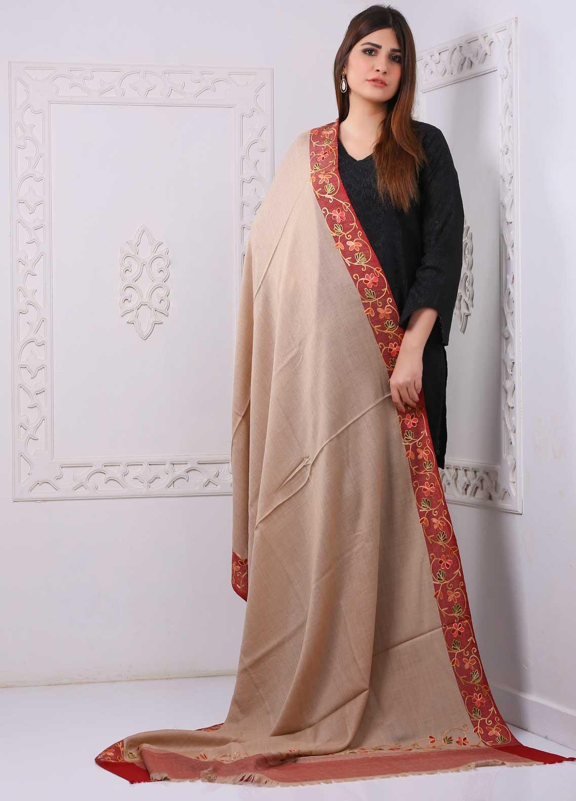 Sanaulla Exclusive Range Embroidered Premium Pashmina  Shawl PRMSH 323941 - Premium Pashmina Shawls