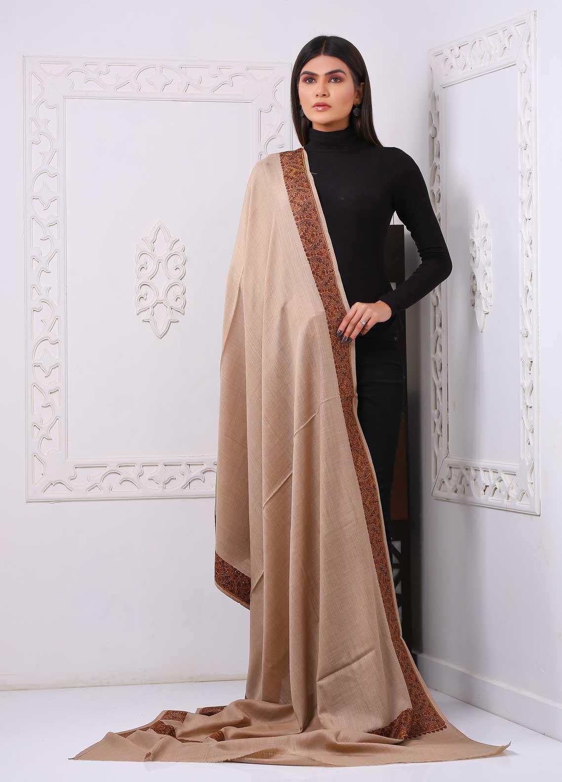 Sanaulla Exclusive Range Embroidered Premium Pashmina  Shawl PRMSH 323953 - Premium Pashmina Shawls