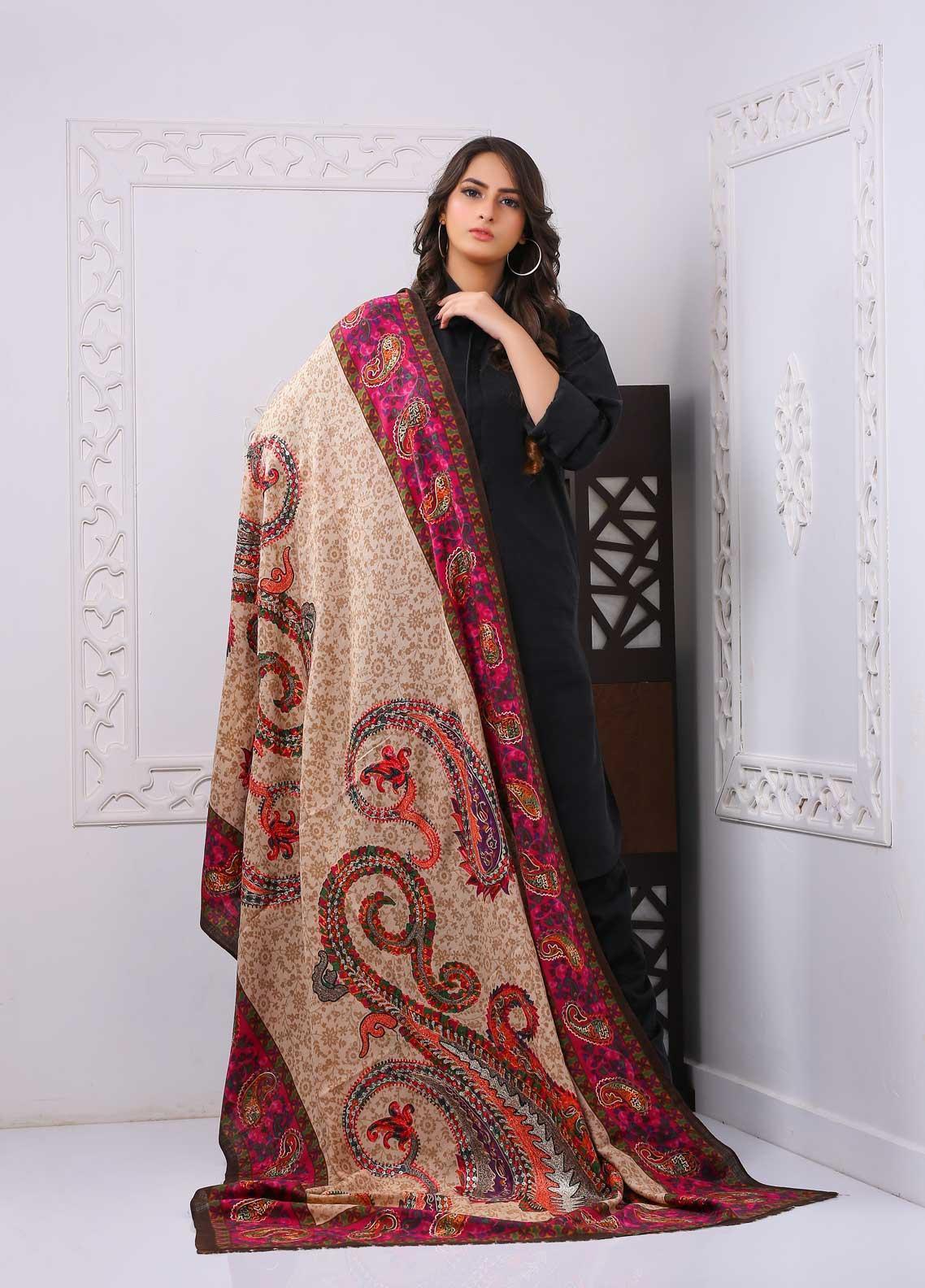 Sanaulla Exclusive Range Embroidered Premium Pashmina  Shawl PRMSH 323971 - Premium Pashmina Shawls