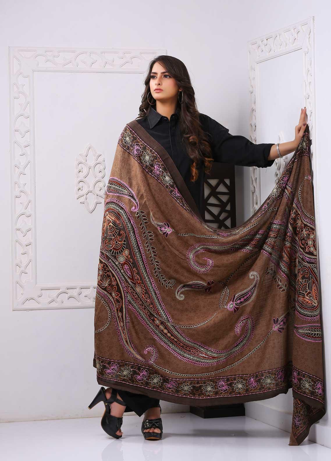 Sanaulla Exclusive Range Embroidered Premium Pashmina  Shawl PRMSH 323972 - Premium Pashmina Shawls