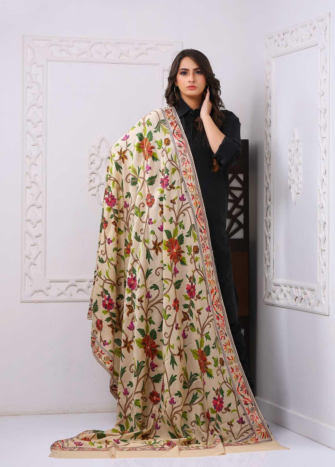 Sanaulla Exclusive Range Embroidered Premium Pashmina  Shawl PRMSH 324029 - Premium Pashmina Shawls
