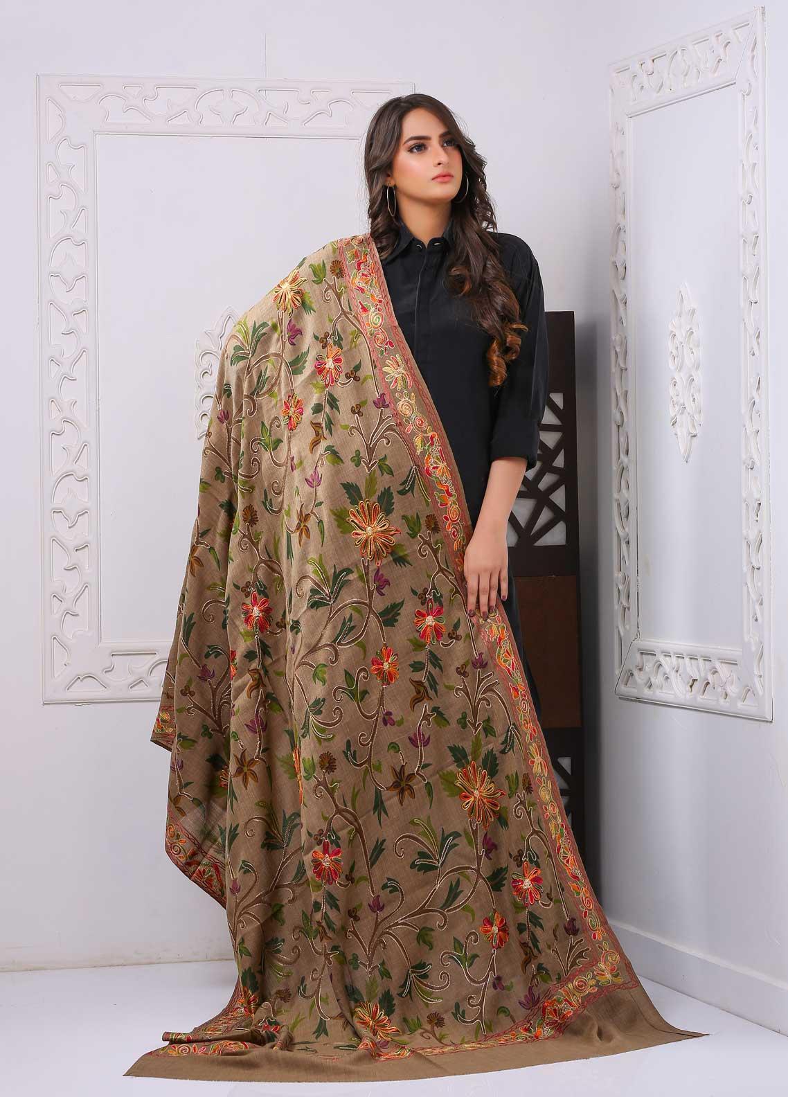 Sanaulla Exclusive Range Embroidered Premium Pashmina  Shawl PRMSH 324030 - Premium Pashmina Shawls