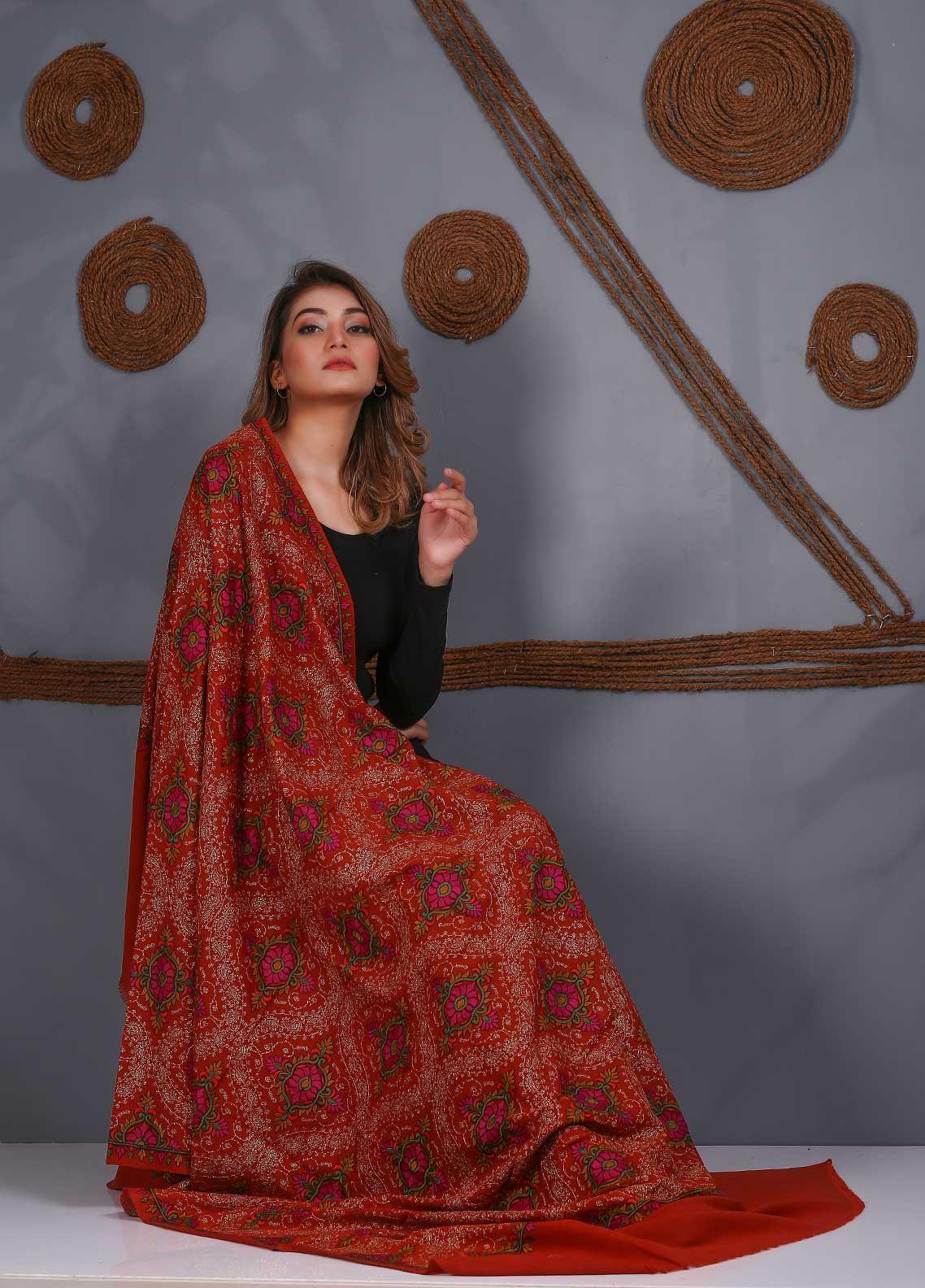 Sanaulla Exclusive Range Embroidered Pashmina  Shawl SU20P 323863 - Pashmina Shawls
