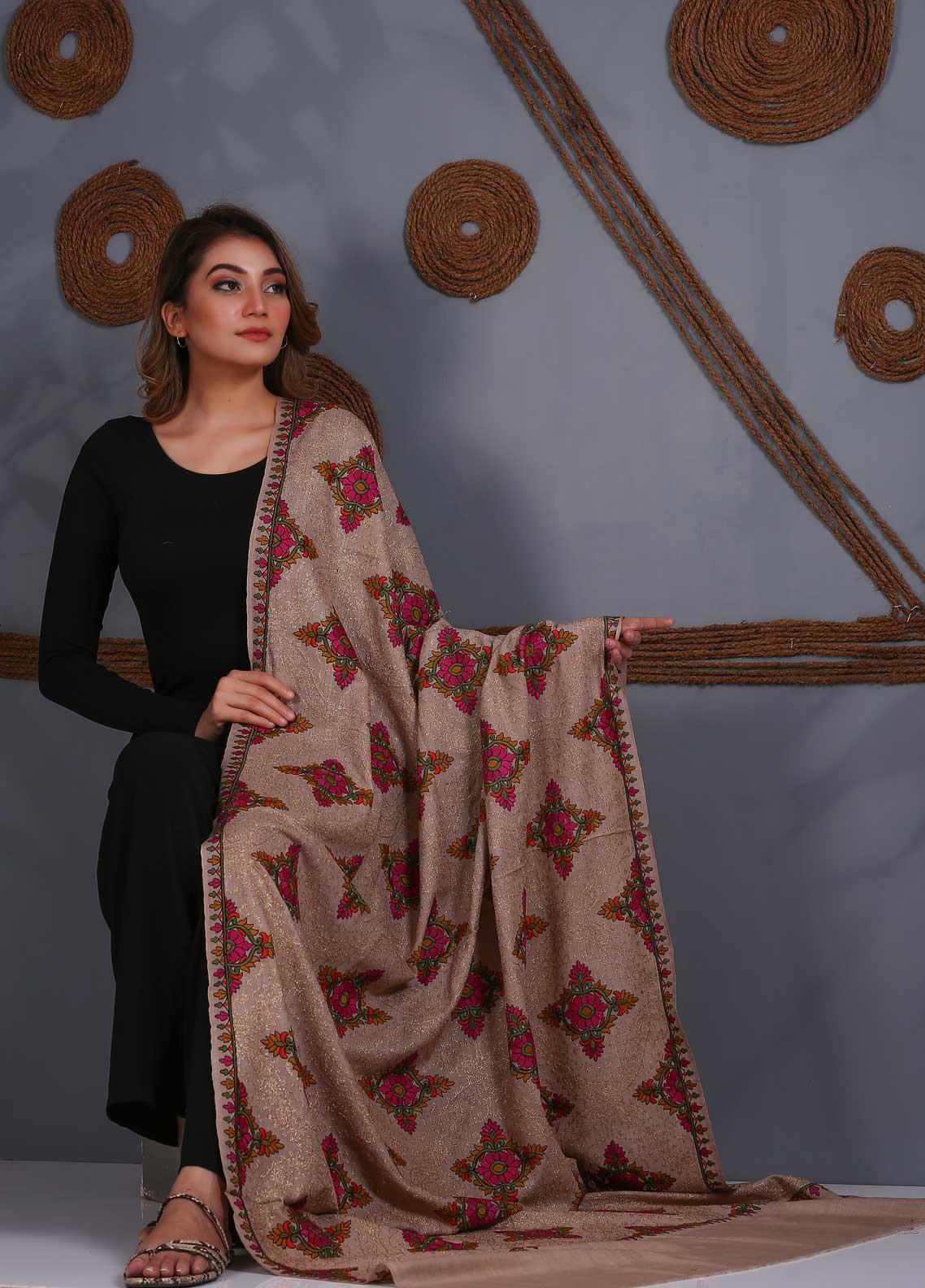 Sanaulla Exclusive Range Embroidered Pashmina Shawl SU20P 323865 - Pashmina Shawls