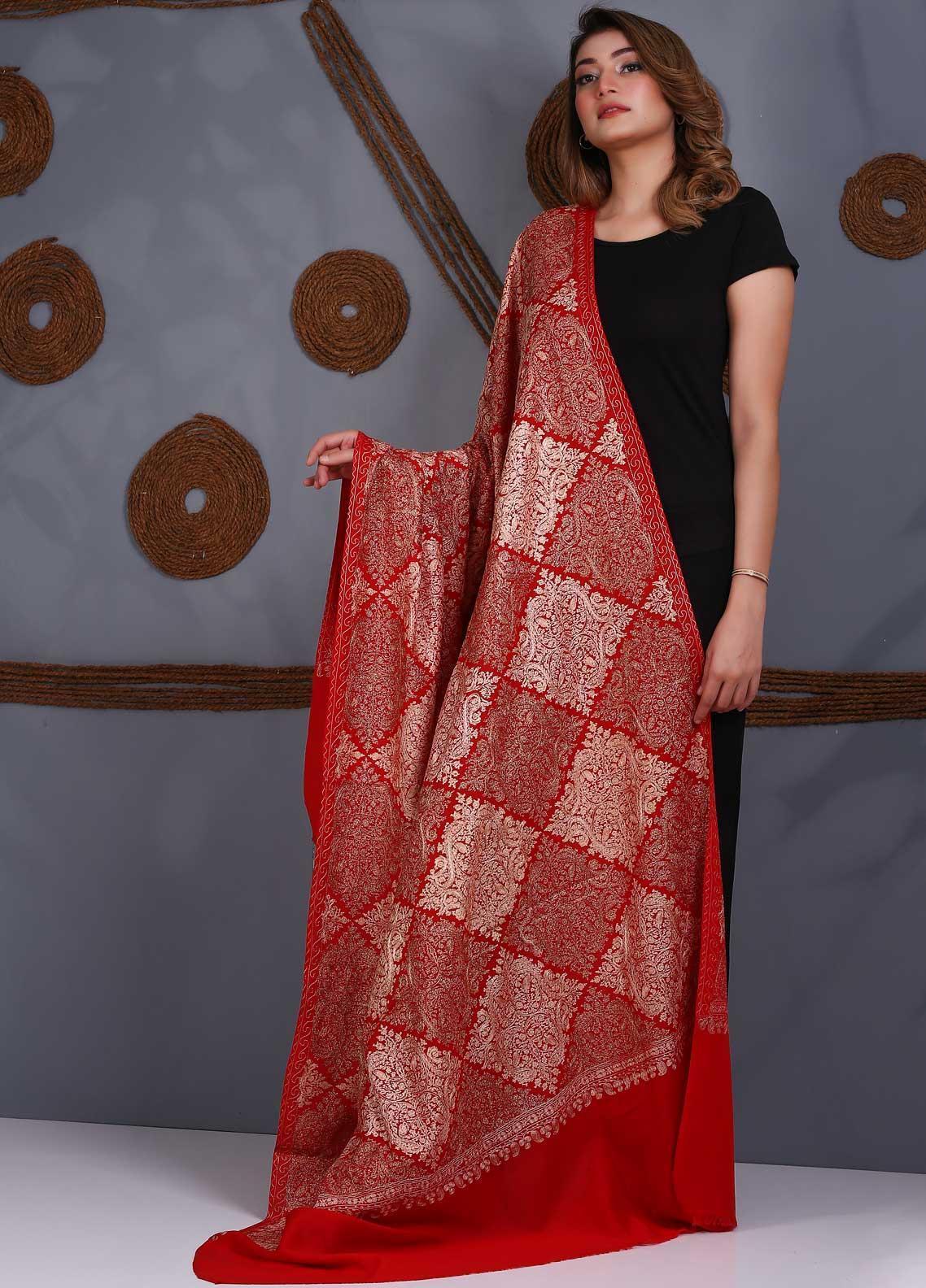 Sanaulla Exclusive Range Embroidered Pashmina  Shawl SU21P Resham Aari 324011 - Pashmina Shawls