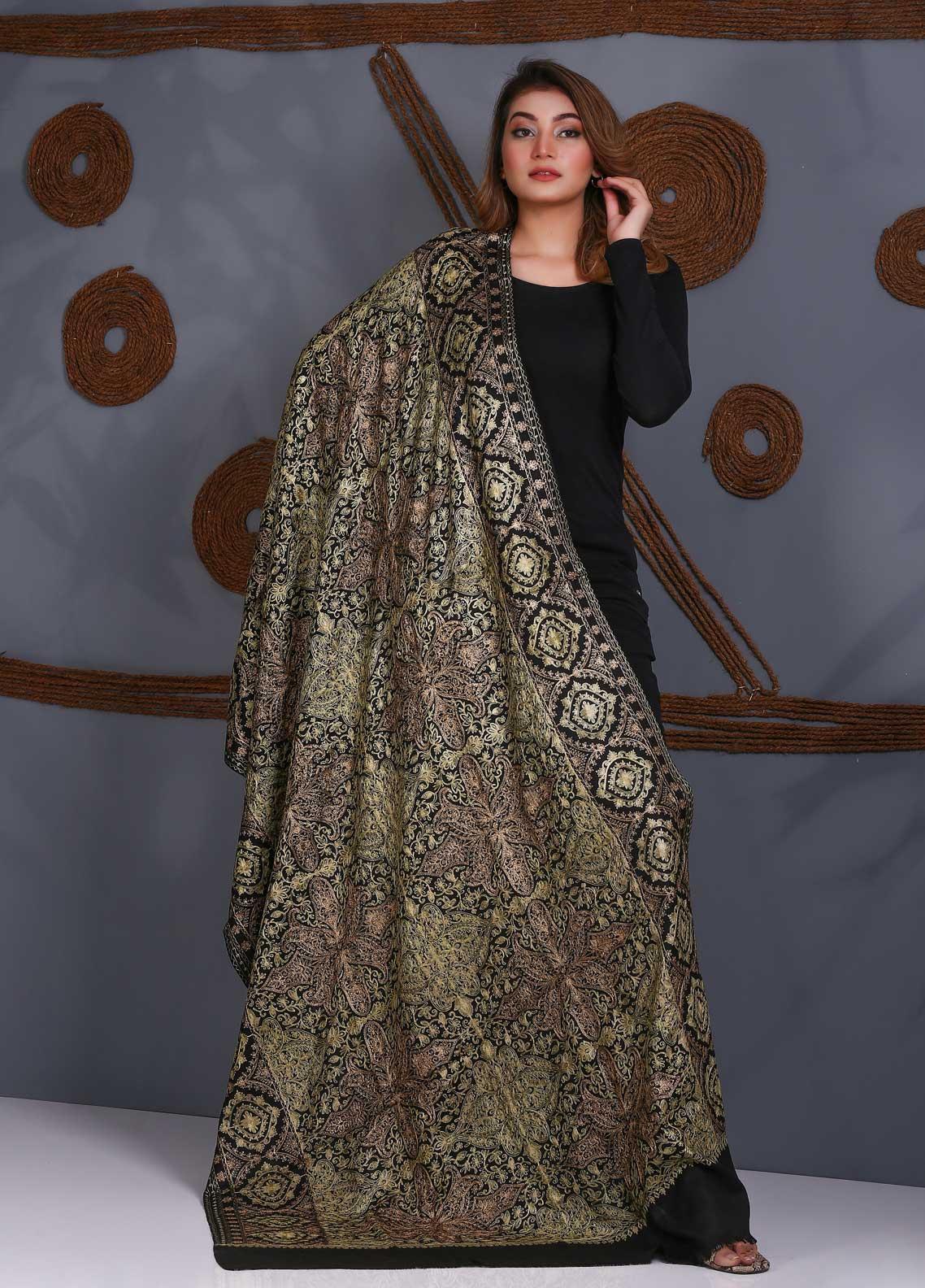 Sanaulla Exclusive Range Embroidered Pashmina  Shawl SU21P Zari Aari 324005 - Pashmina Shawls