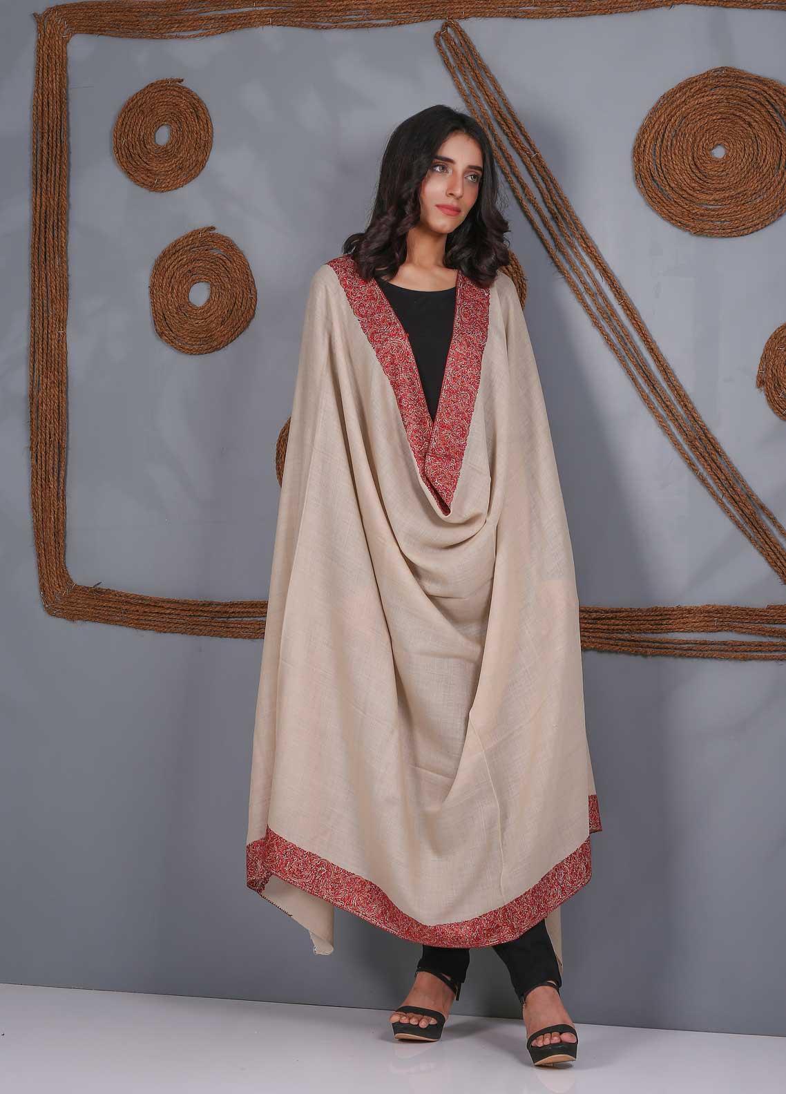 Sanaulla Exclusive Range Embroidered Pashmina  Shawl SU21PS 323496 - Pashmina Shawls